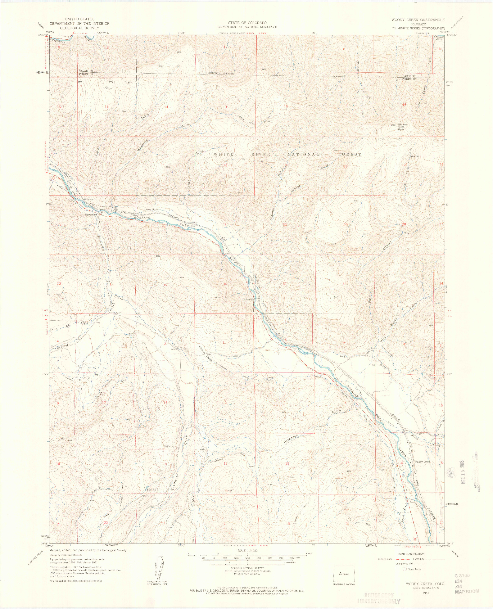 USGS 1:24000-SCALE QUADRANGLE FOR WOODY CREEK, CO 1961