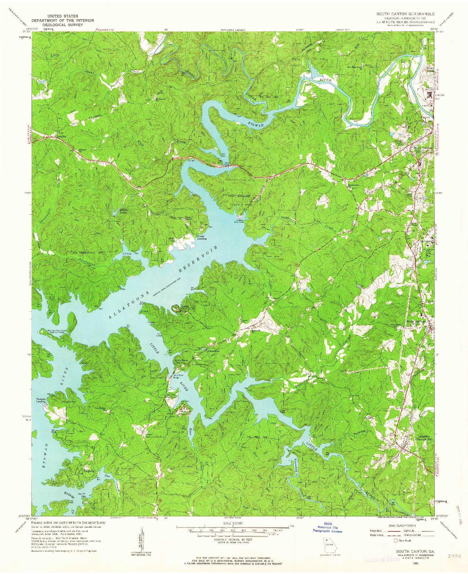 USGS 1:24000-SCALE QUADRANGLE FOR SOUTH CANTON, GA 1961