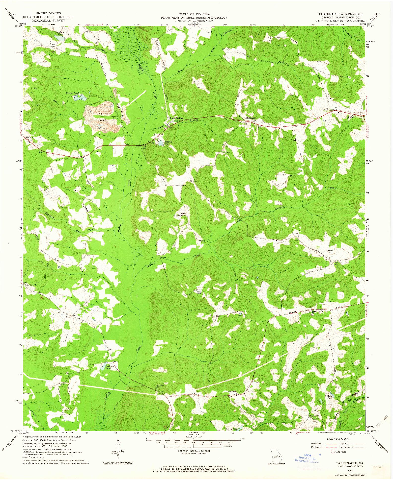USGS 1:24000-SCALE QUADRANGLE FOR TABERNACLE, GA 1962