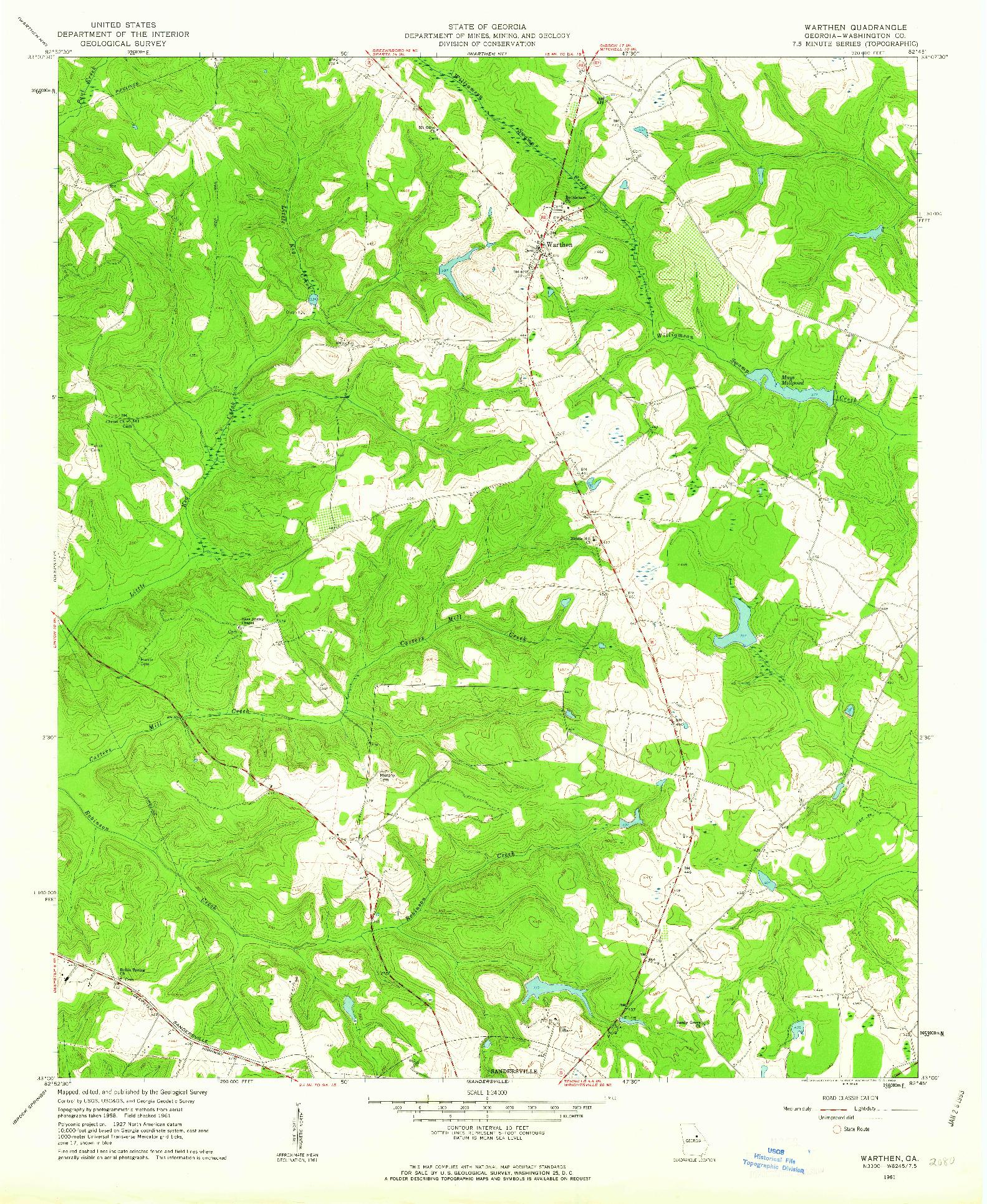 USGS 1:24000-SCALE QUADRANGLE FOR WARTHEN, GA 1961