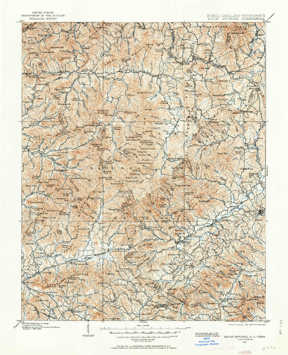 USGS 1:125000-SCALE QUADRANGLE FOR MOUNT MITCHELL, NC 1900