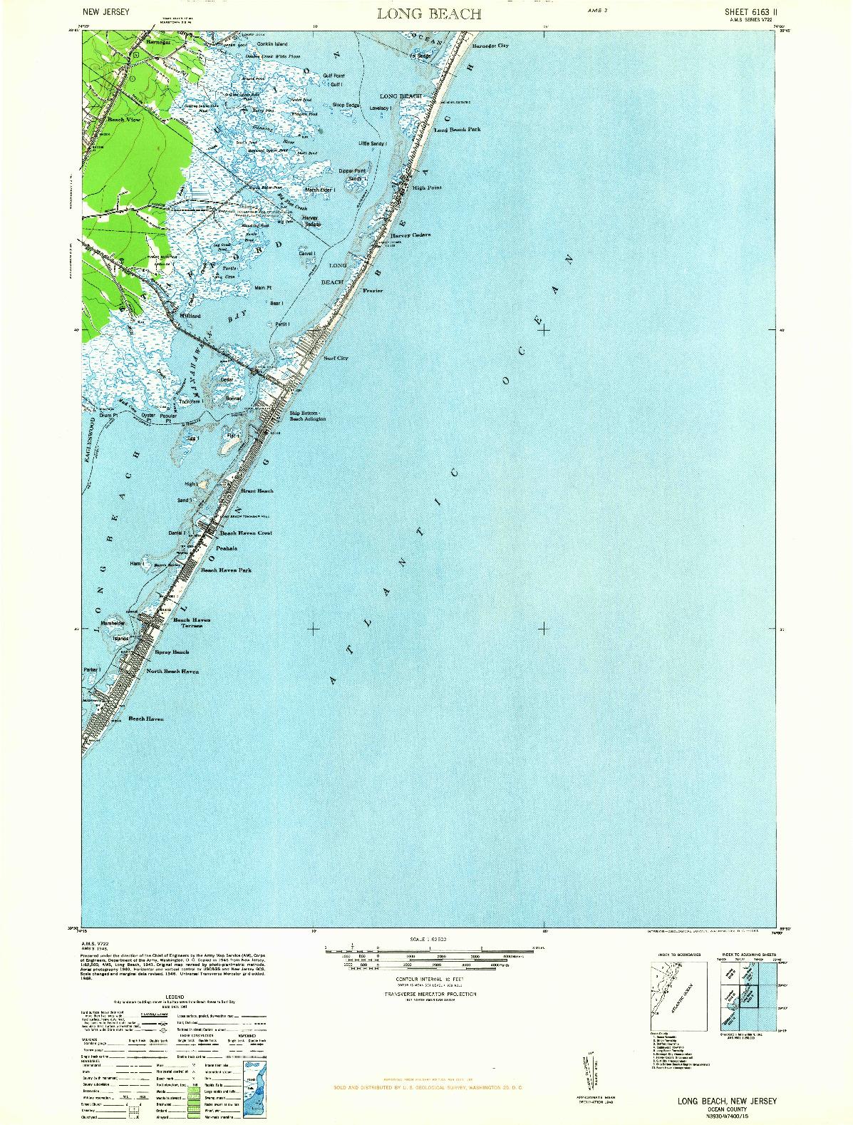 USGS 1:62500-SCALE QUADRANGLE FOR LONG BEACH, NJ 1948