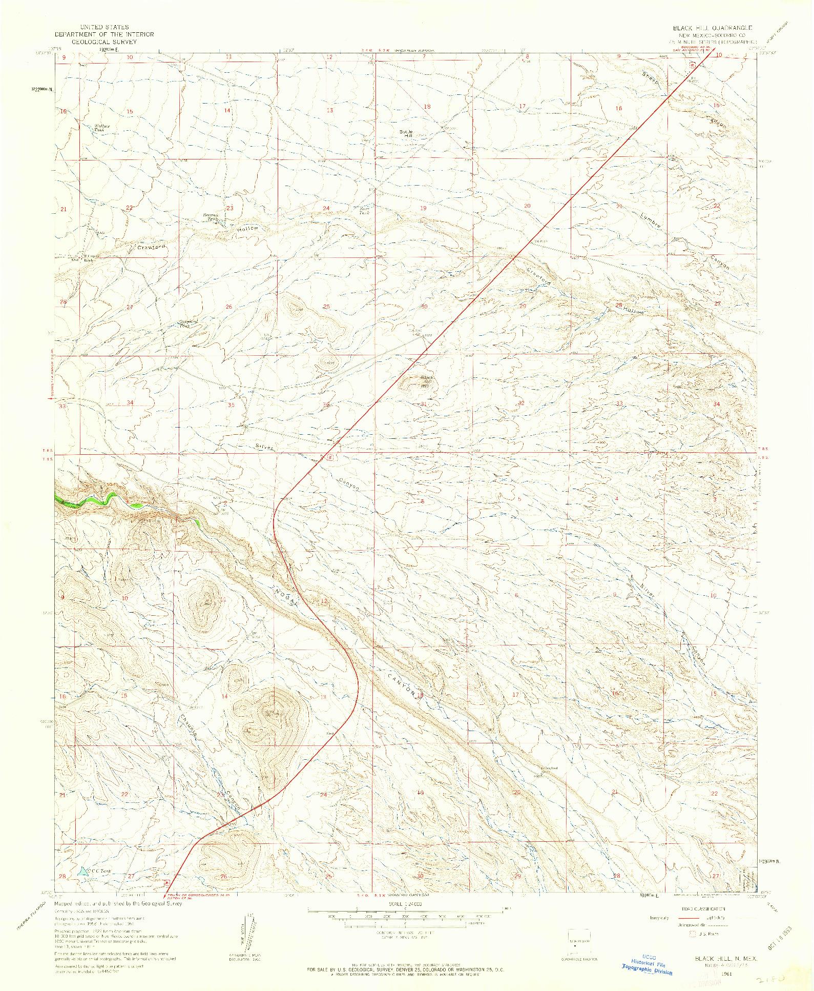 USGS 1:24000-SCALE QUADRANGLE FOR BLACK HILL, NM 1961