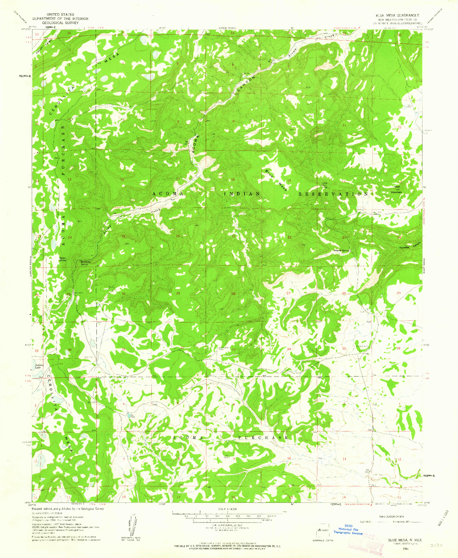 USGS 1:24000-SCALE QUADRANGLE FOR BLUE MESA, NM 1961