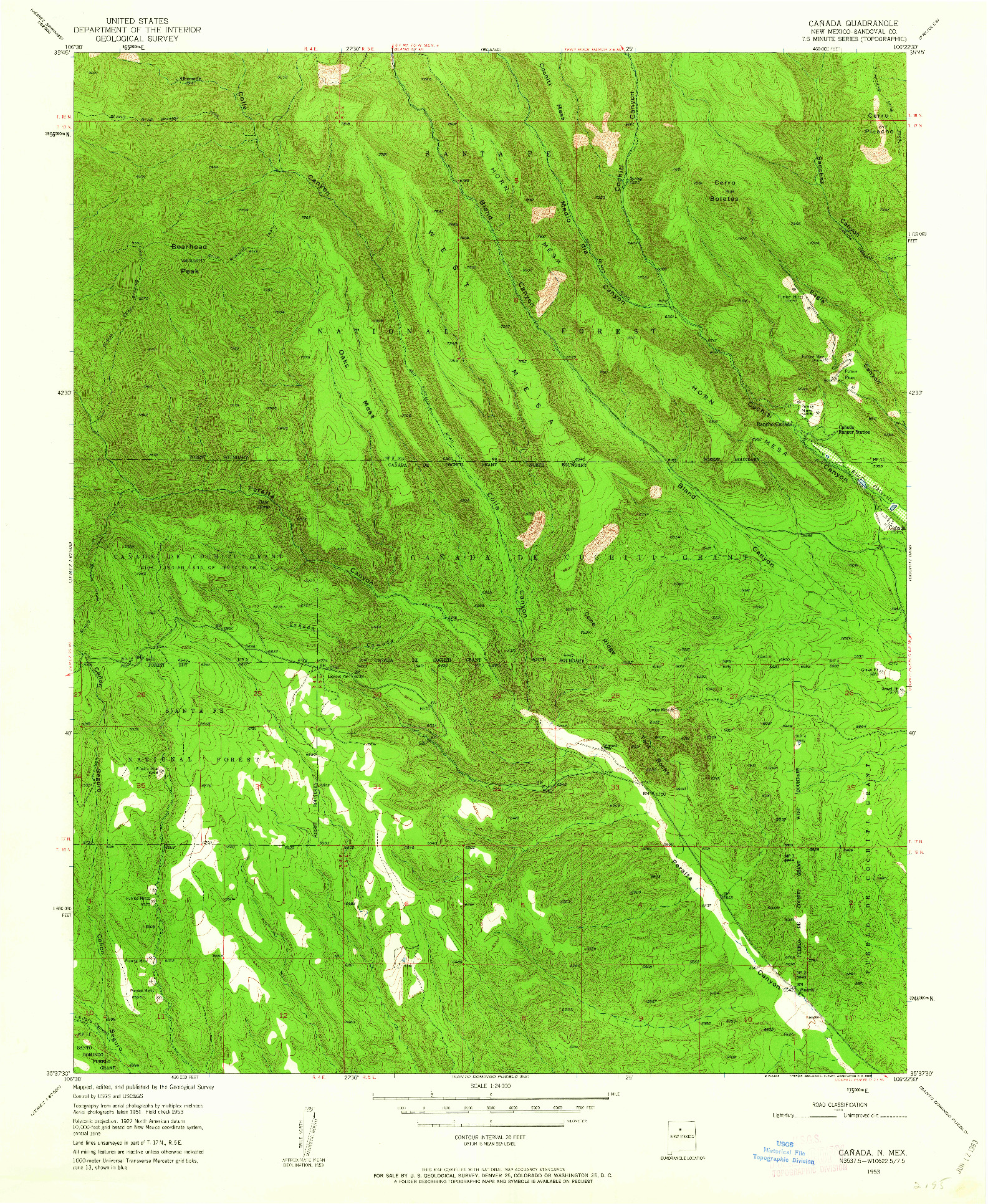 USGS 1:24000-SCALE QUADRANGLE FOR CANADA, NM 1953