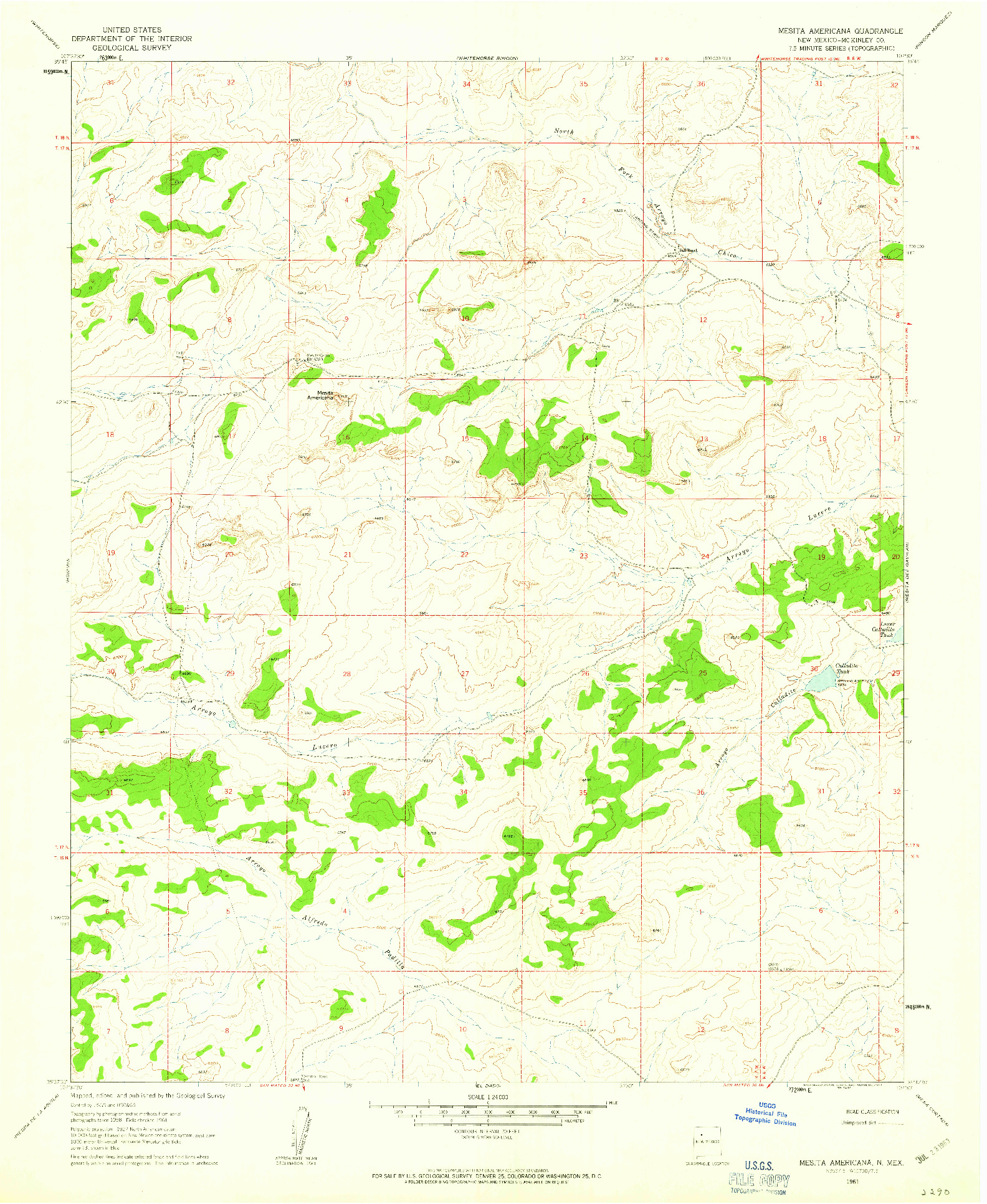 USGS 1:24000-SCALE QUADRANGLE FOR MESITA AMERICANA, NM 1961