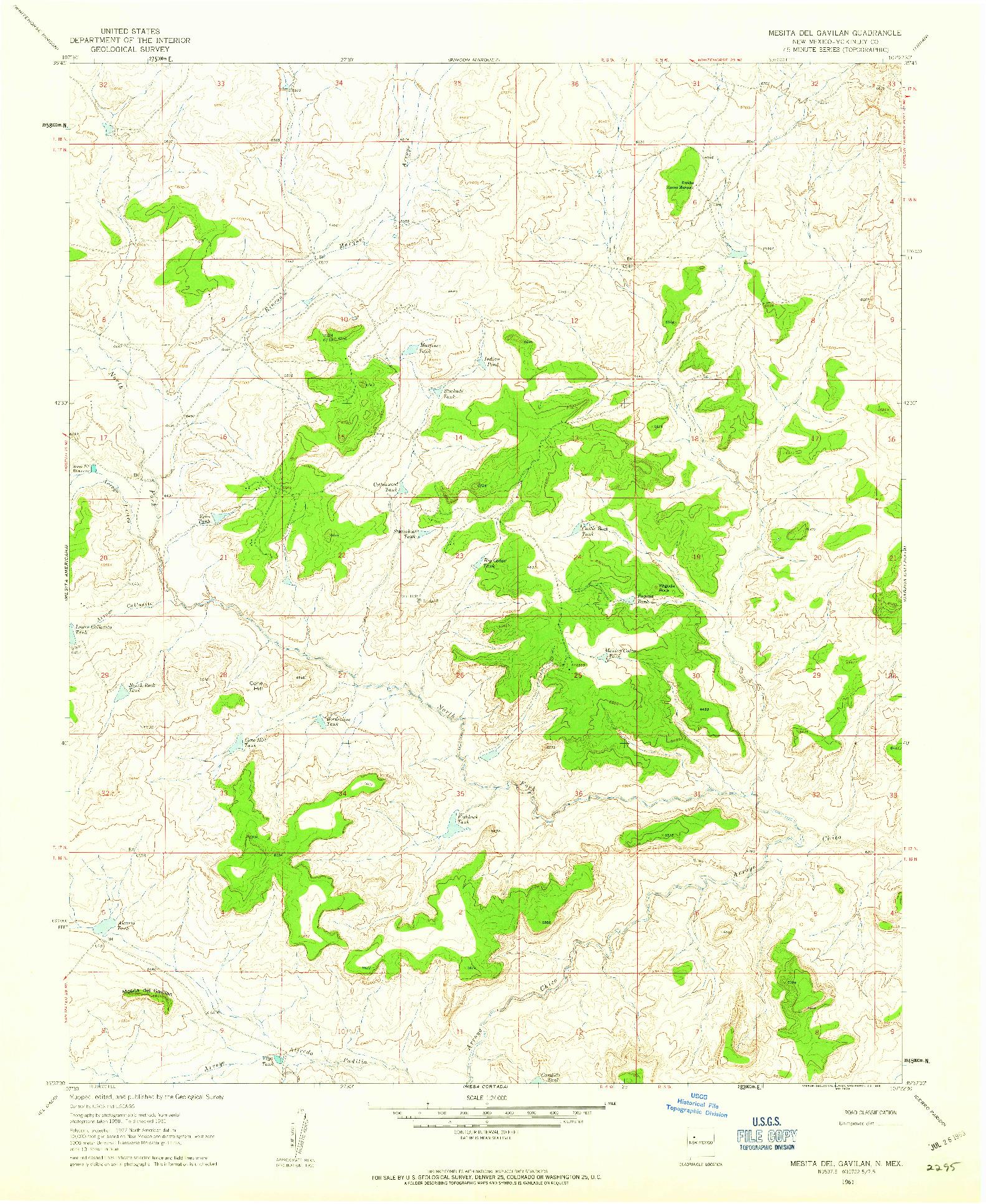 USGS 1:24000-SCALE QUADRANGLE FOR MESITA DEL GAVILAN, NM 1961