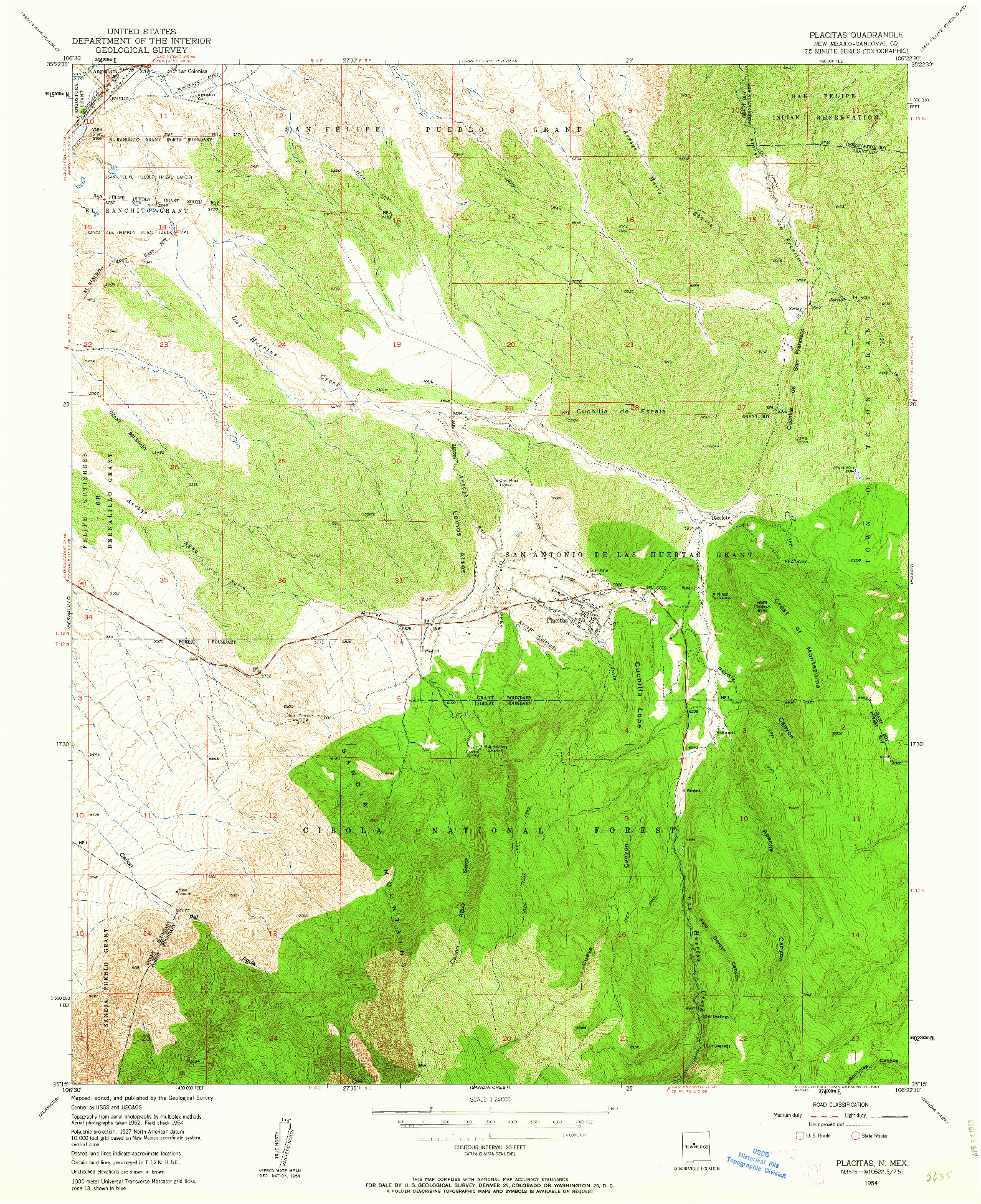 USGS 1:24000-SCALE QUADRANGLE FOR PLACITAS, NM 1954