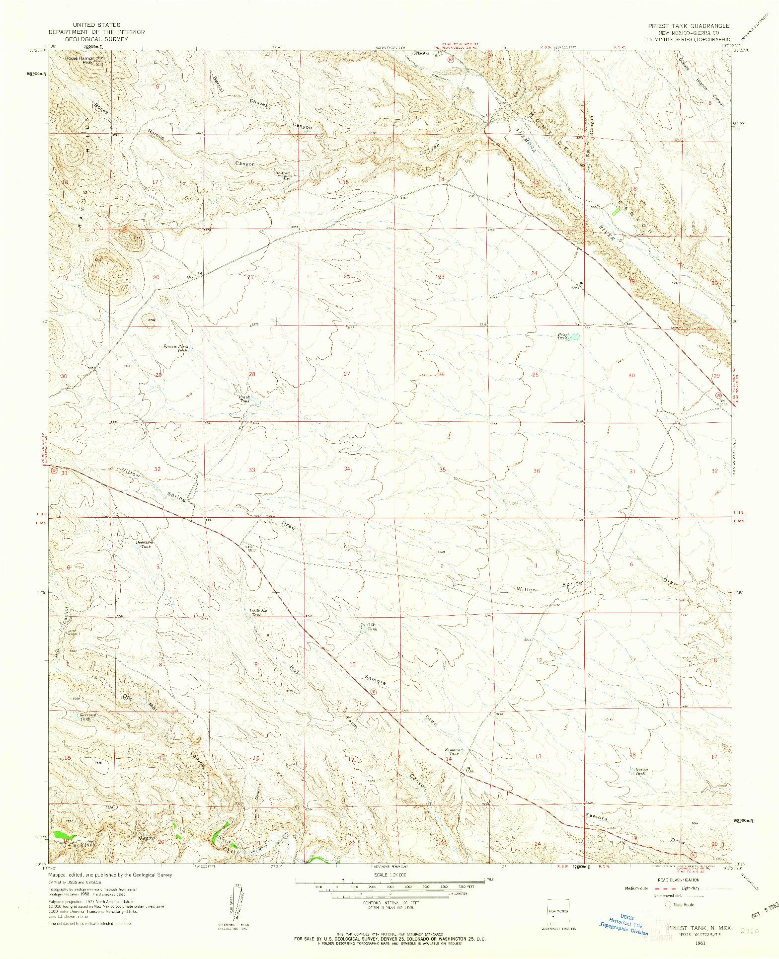 USGS 1:24000-SCALE QUADRANGLE FOR PRIEST TANK, NM 1961
