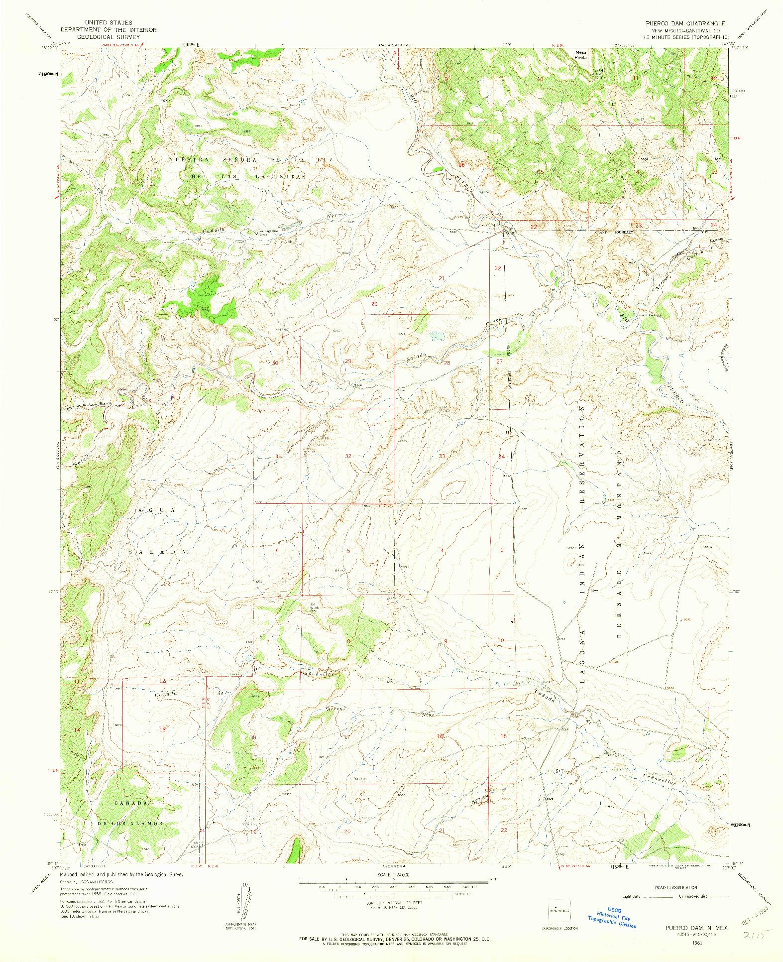 USGS 1:24000-SCALE QUADRANGLE FOR PUERCO DAM, NM 1961