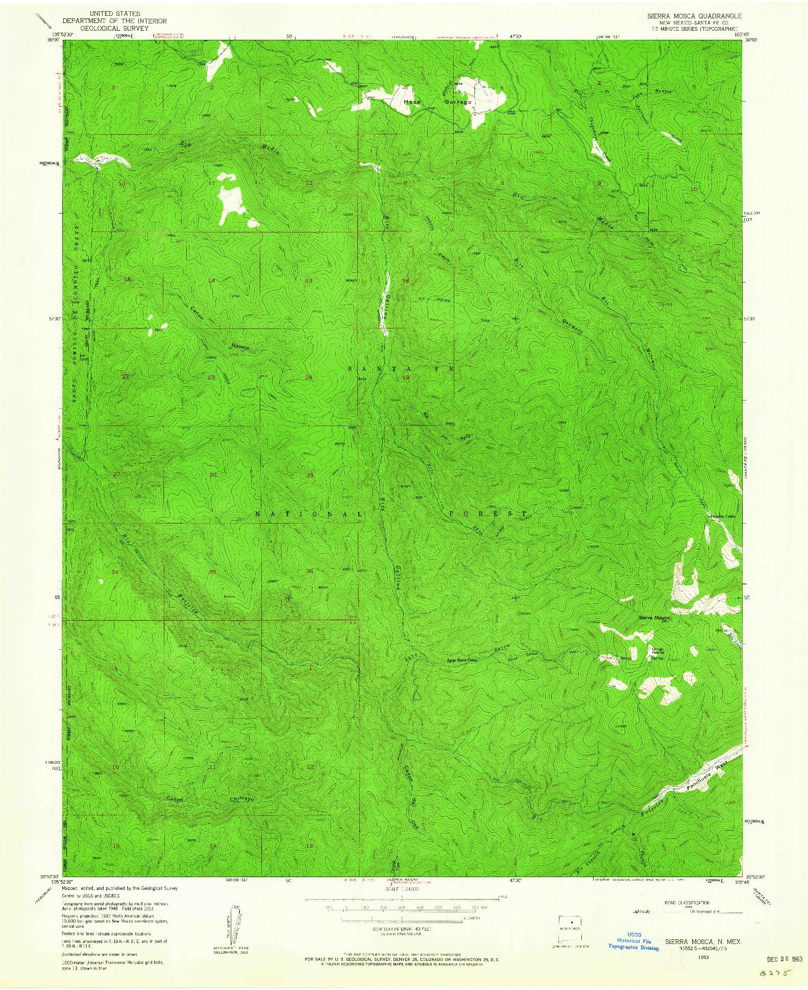 USGS 1:24000-SCALE QUADRANGLE FOR SIERRA MOSCA, NM 1953