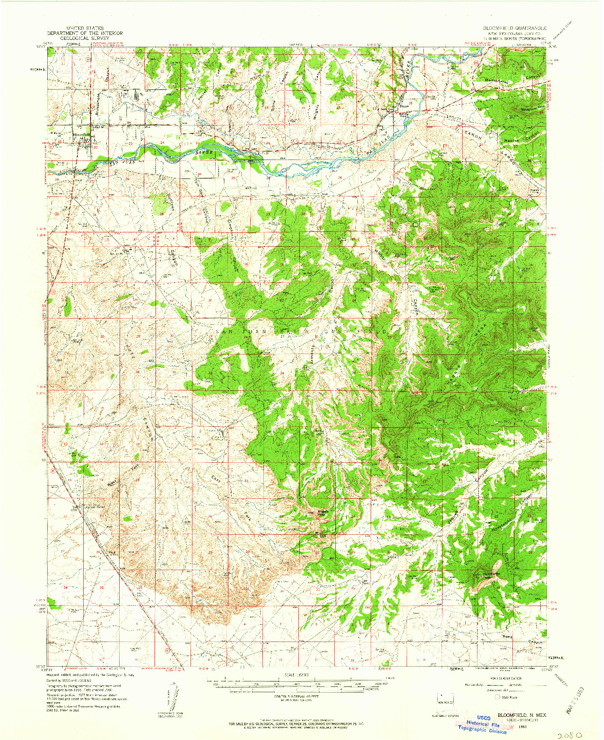 USGS 1:62500-SCALE QUADRANGLE FOR BLOOMFIELD, NM 1960