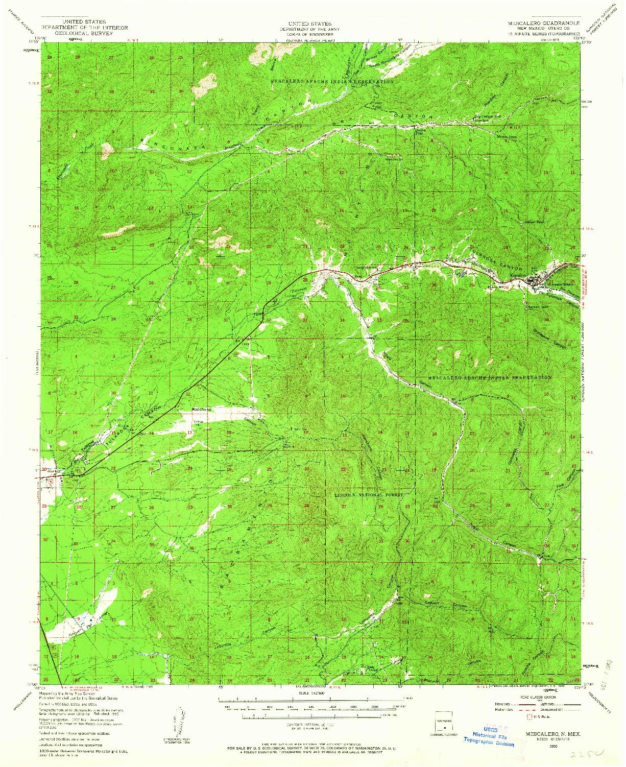 USGS 1:62500-SCALE QUADRANGLE FOR MESCALERO, NM 1950