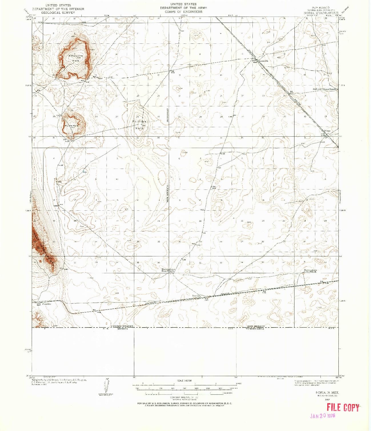 USGS 1:62500-SCALE QUADRANGLE FOR NORIA, NM 1917