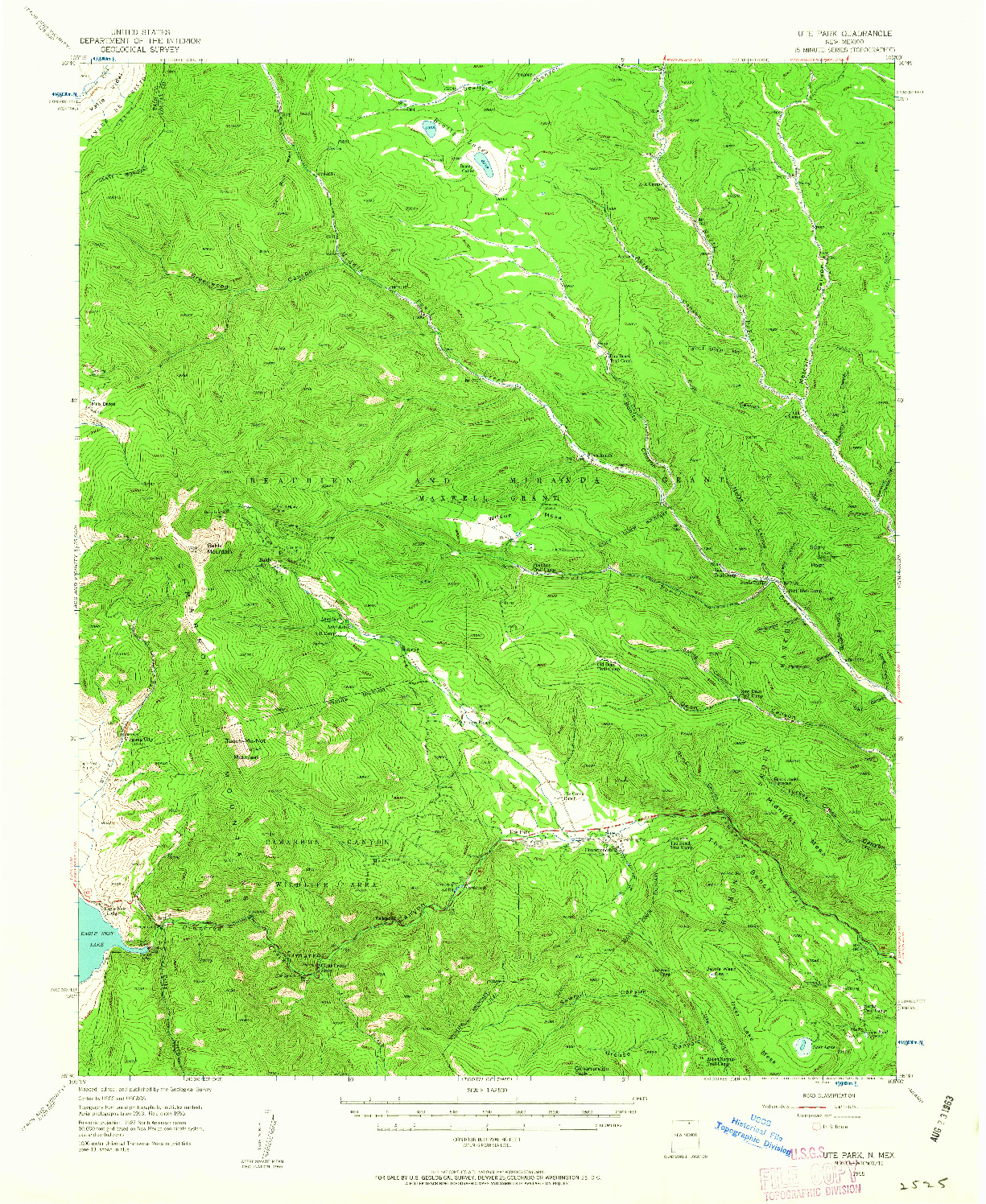USGS 1:62500-SCALE QUADRANGLE FOR UTE PARK, NM 1955