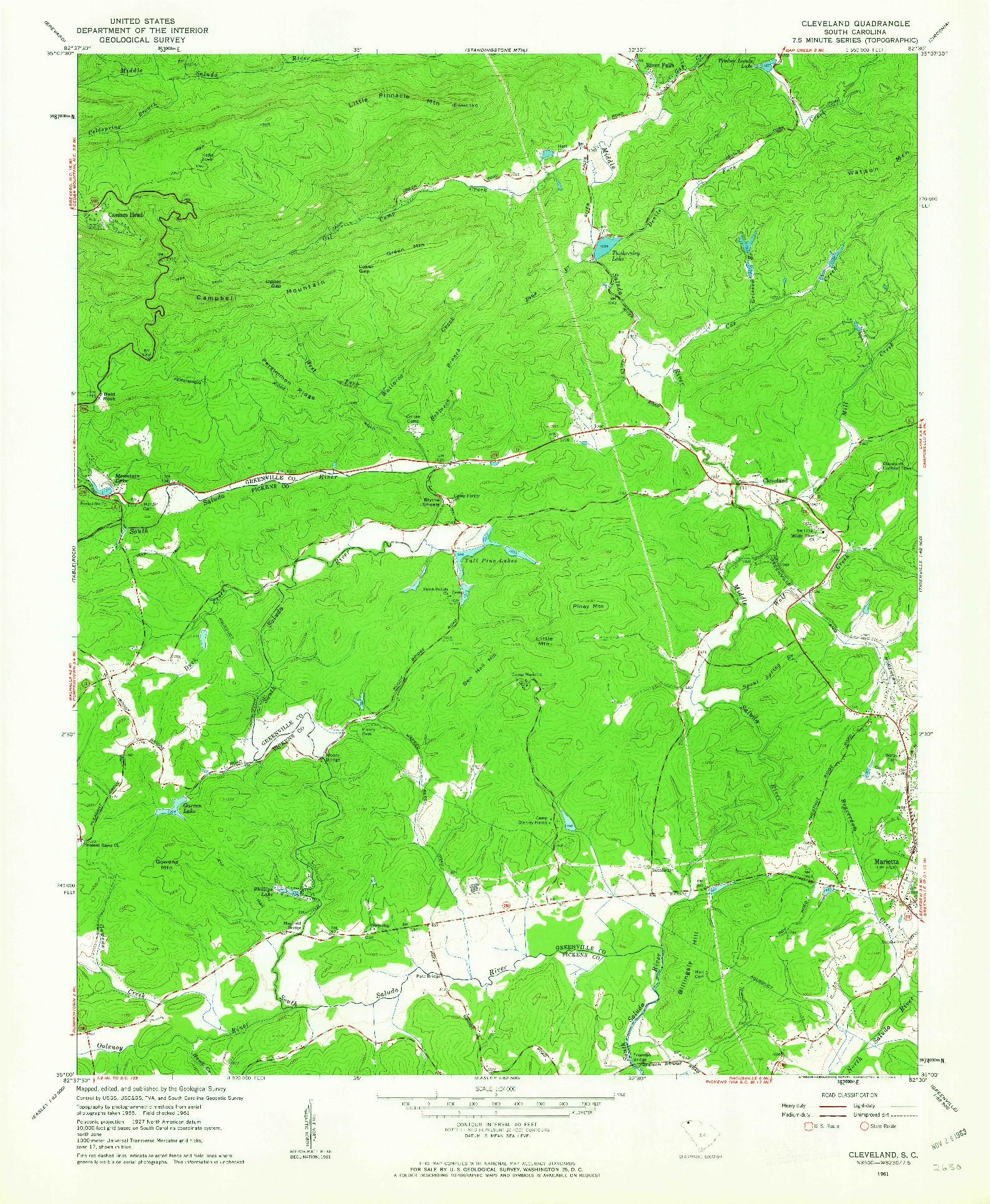 USGS 1:24000-SCALE QUADRANGLE FOR CLEVELAND, SC 1961