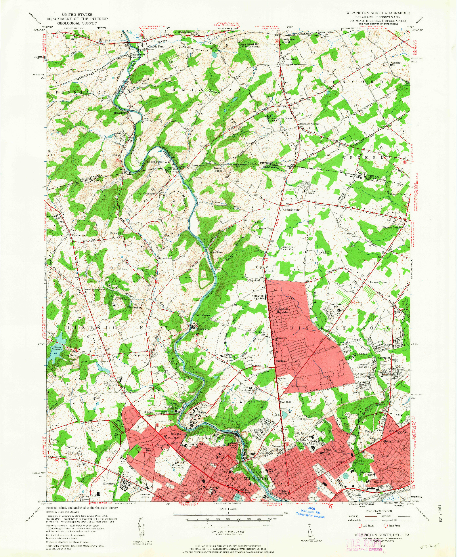 USGS 1:24000-SCALE QUADRANGLE FOR WILMINGTON NORTH, DE 1954
