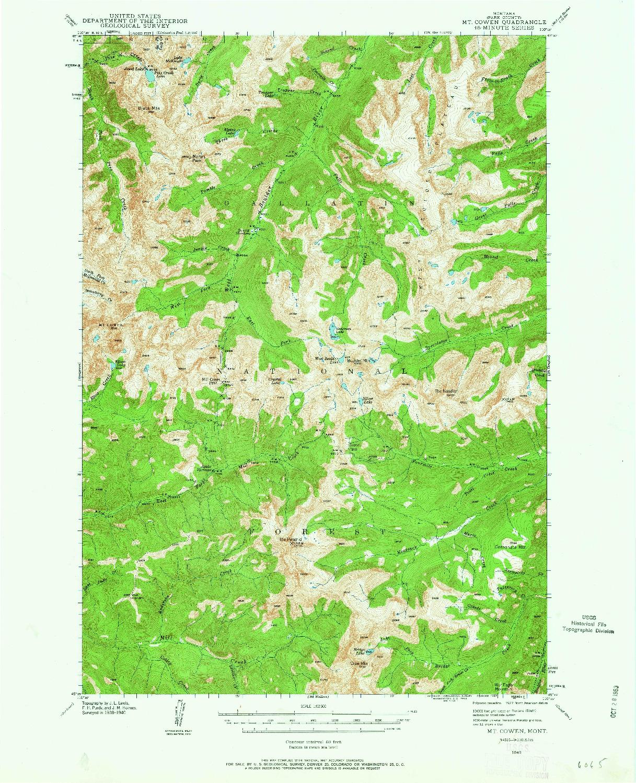 USGS 1:62500-SCALE QUADRANGLE FOR MT COWEN, MT 1940