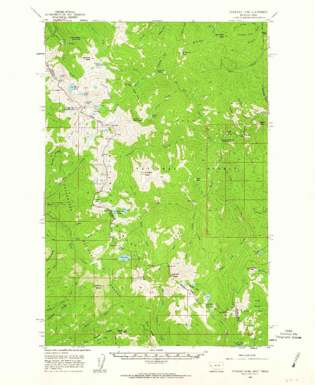 USGS 1:62500-SCALE QUADRANGLE FOR STRAIGHT PEAK, MT 1960