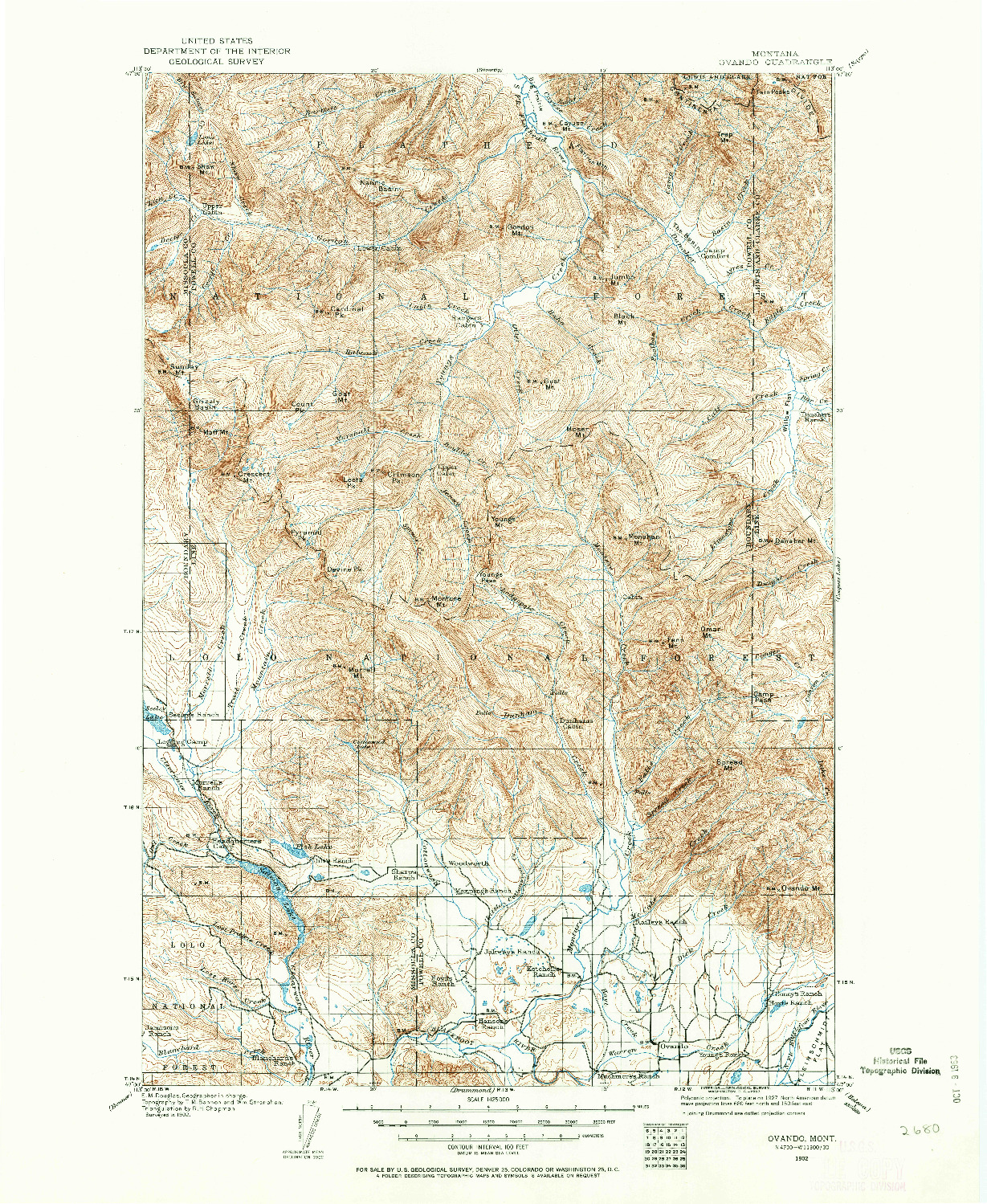 USGS 1:125000-SCALE QUADRANGLE FOR OVANDO, MT 1902