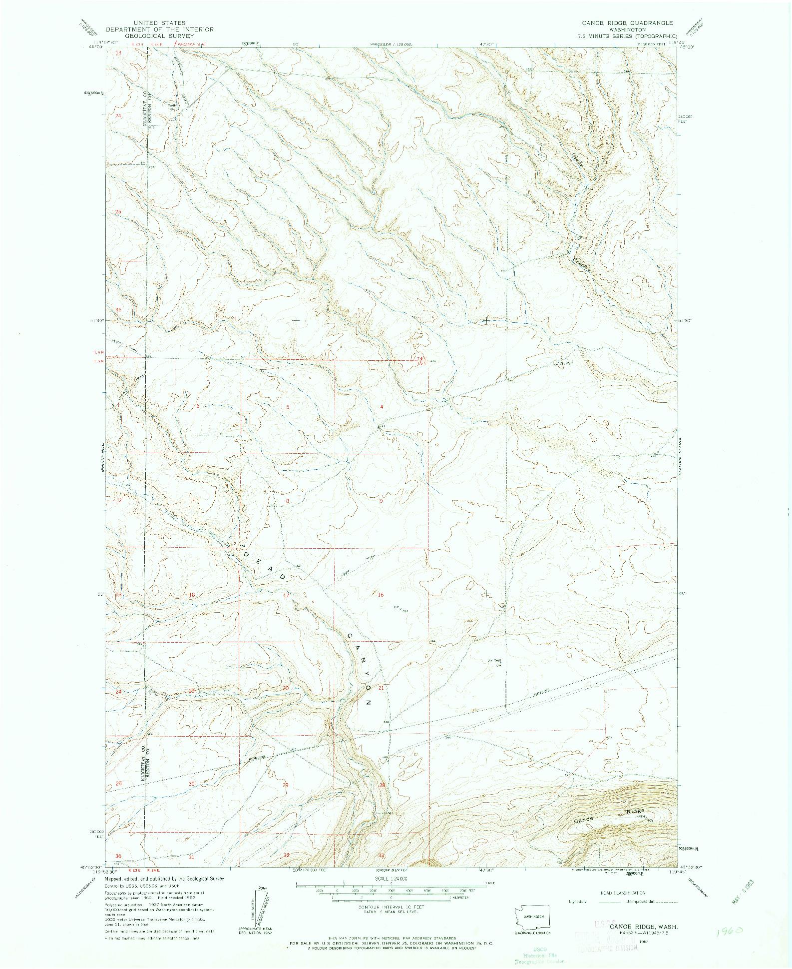 USGS 1:24000-SCALE QUADRANGLE FOR CANOE RIDGE, WA 1962