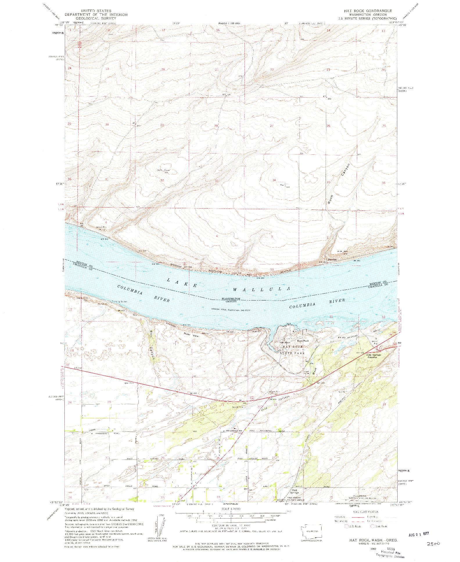 USGS 1:24000-SCALE QUADRANGLE FOR HAT ROCK, WA 1962