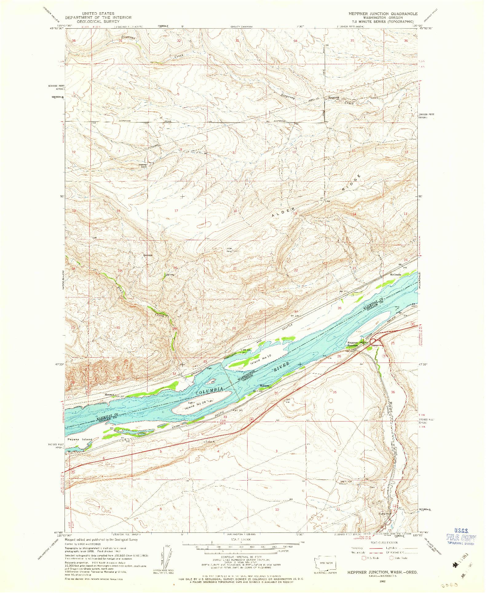 USGS 1:24000-SCALE QUADRANGLE FOR HEPPNER JUNCTION, WA 1962
