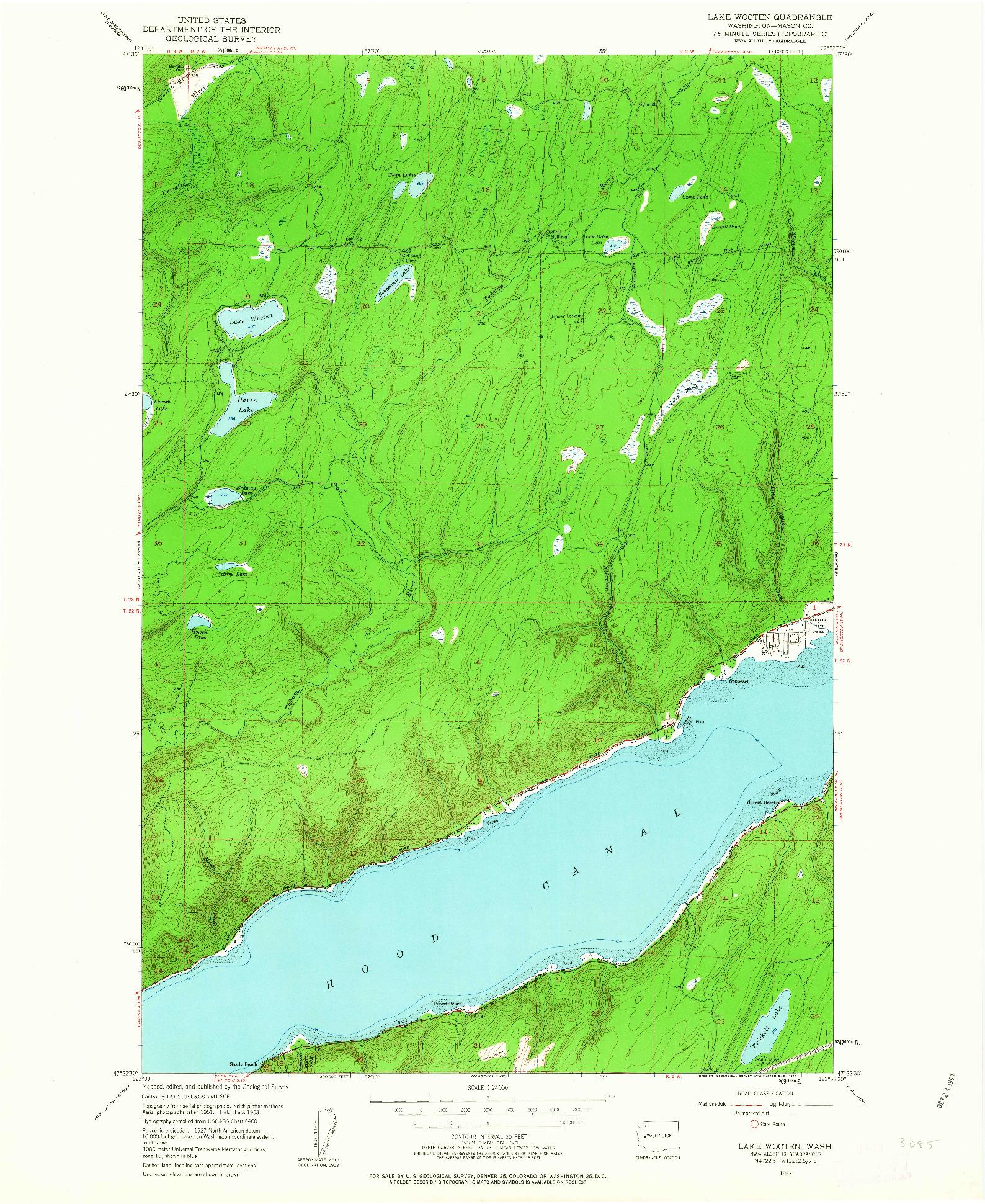 USGS 1:24000-SCALE QUADRANGLE FOR LAKE WOOTEN, WA 1953
