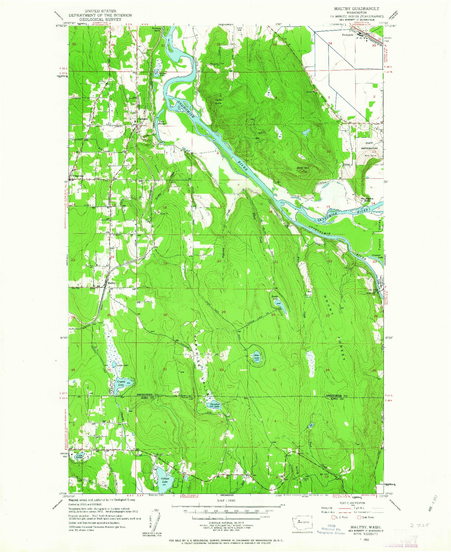 USGS 1:24000-SCALE QUADRANGLE FOR MALTBY, WA 1953