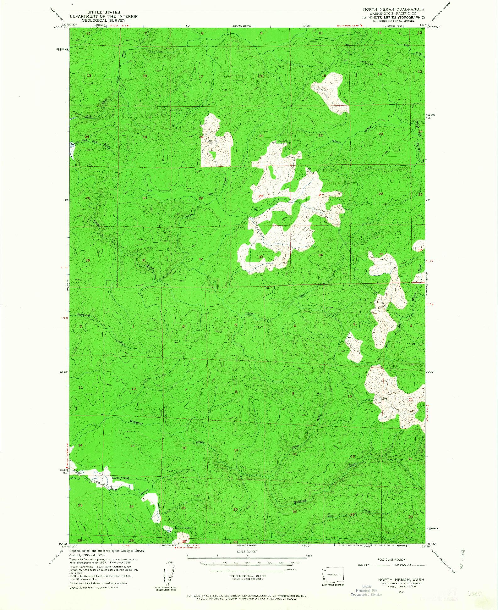 USGS 1:24000-SCALE QUADRANGLE FOR NORTH NEMAH, WA 1955