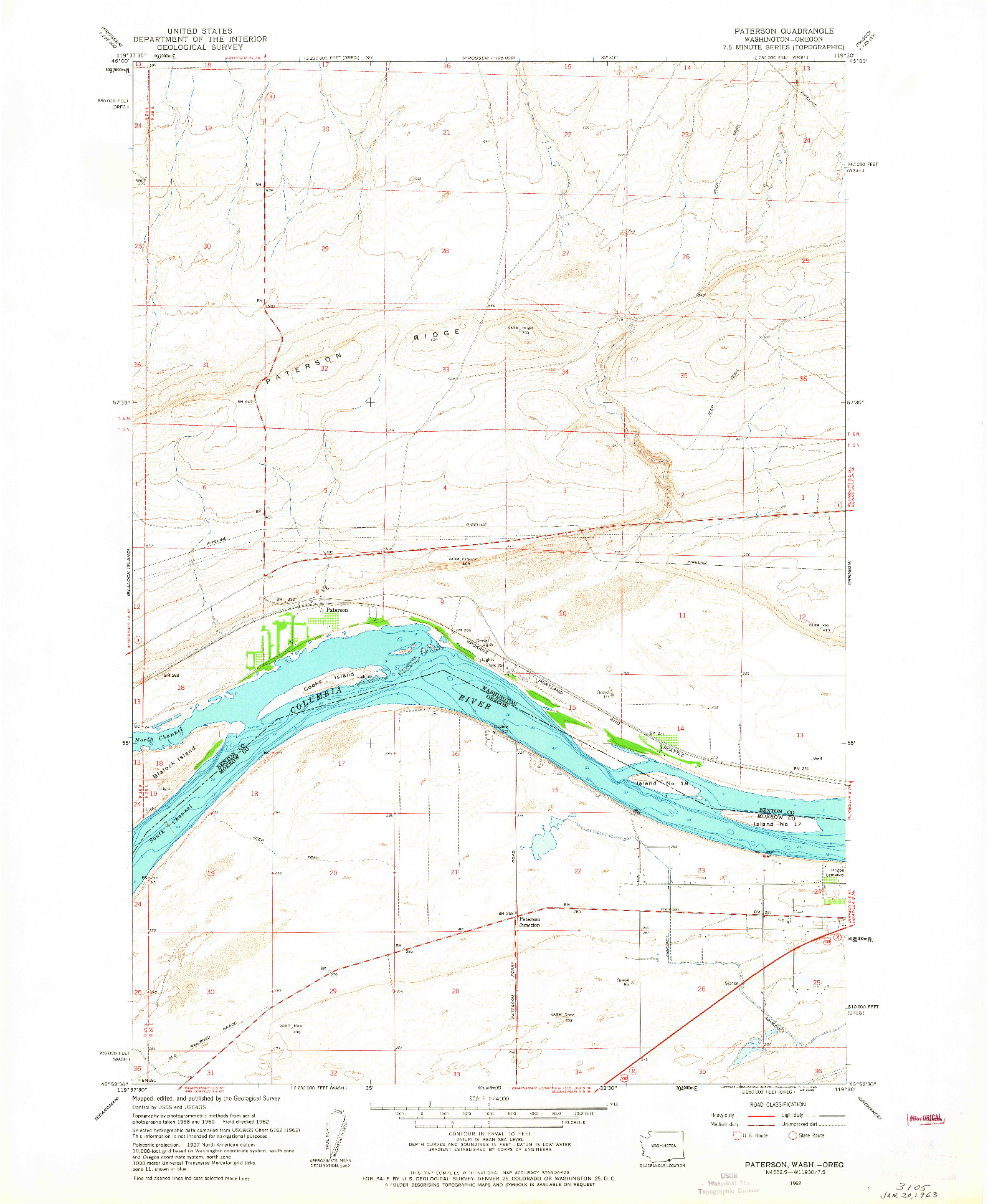 USGS 1:24000-SCALE QUADRANGLE FOR PATERSON, WA 1962