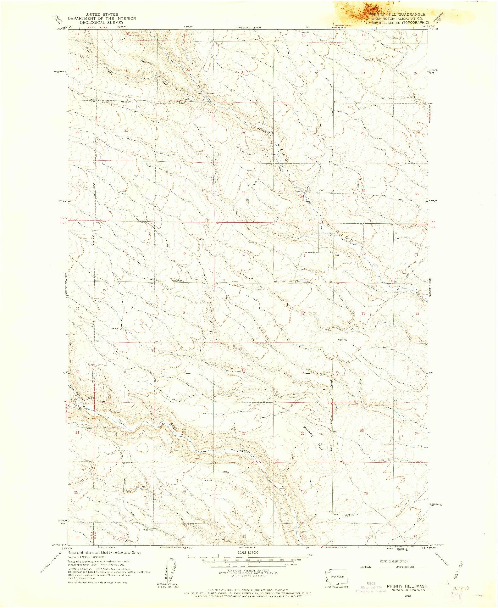 USGS 1:24000-SCALE QUADRANGLE FOR PHINNY HILL, WA 1962