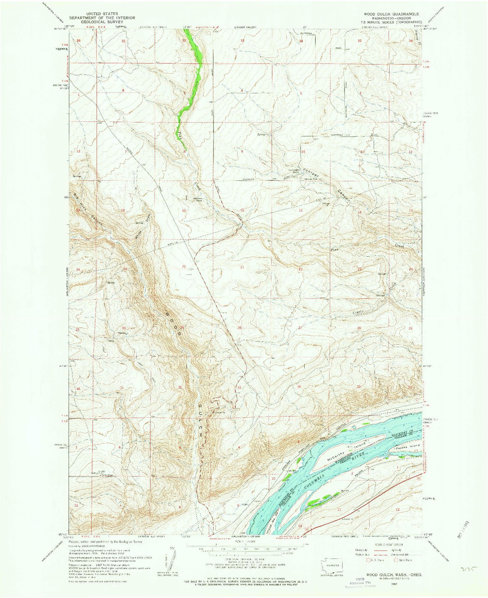 USGS 1:24000-SCALE QUADRANGLE FOR WOOD GULCH, WA 1962