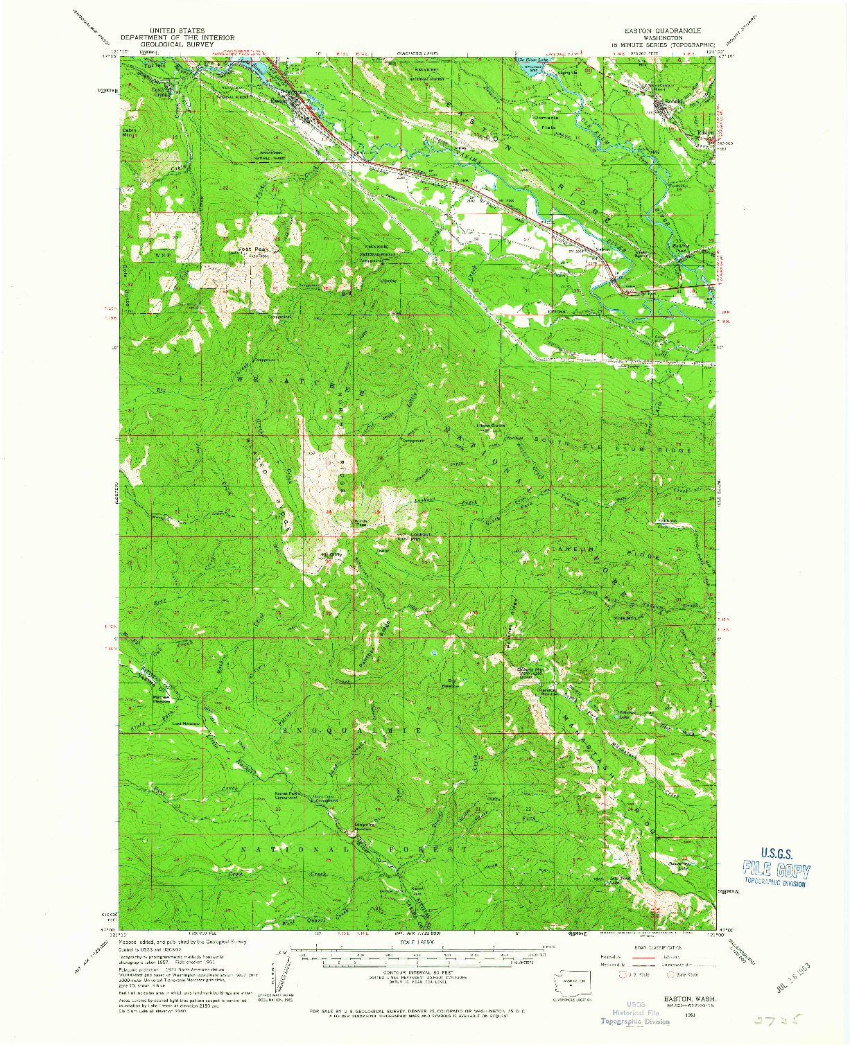 USGS 1:62500-SCALE QUADRANGLE FOR EASTON, WA 1961