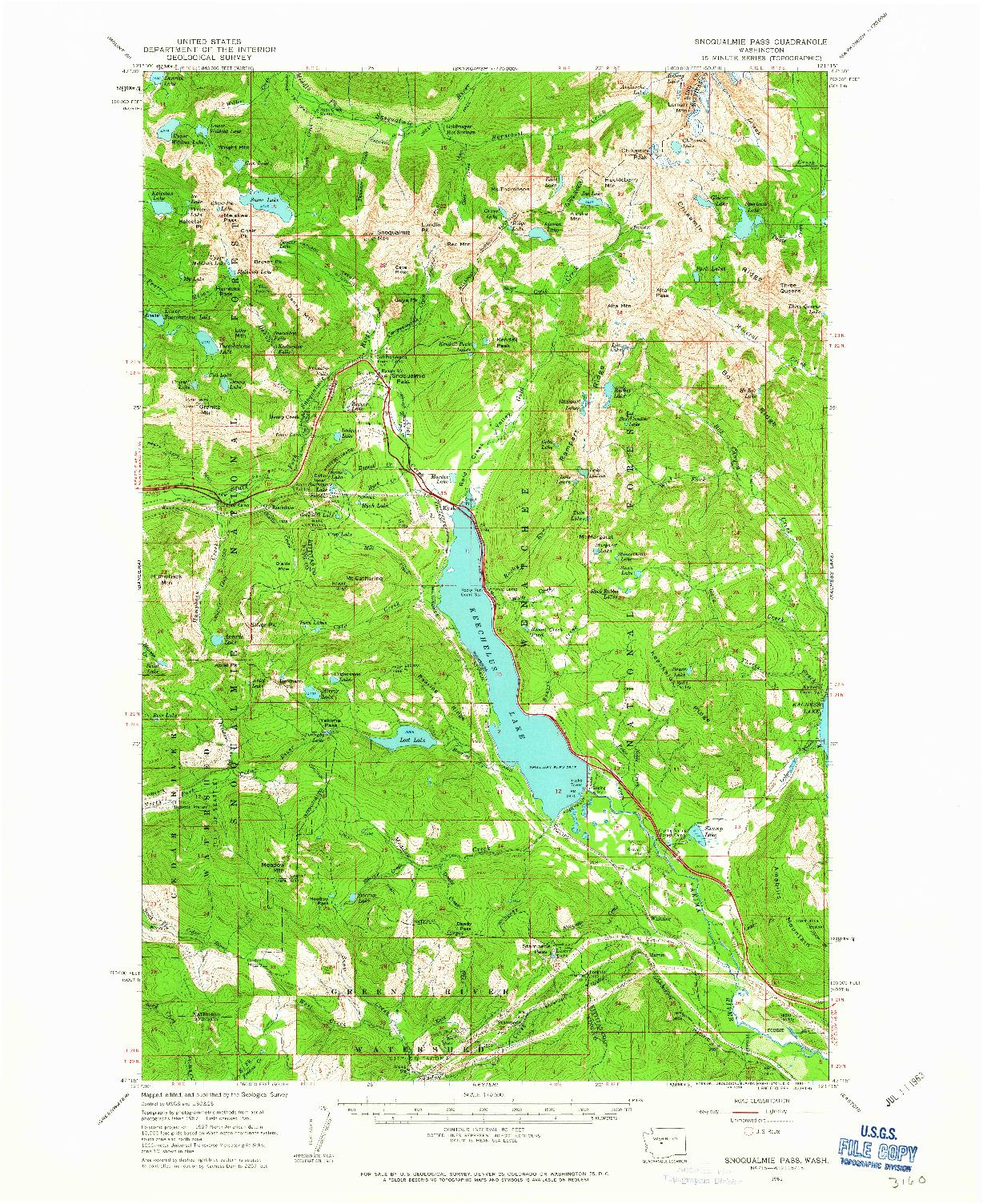 USGS 1:62500-SCALE QUADRANGLE FOR SNOQUALMIE PASS, WA 1961