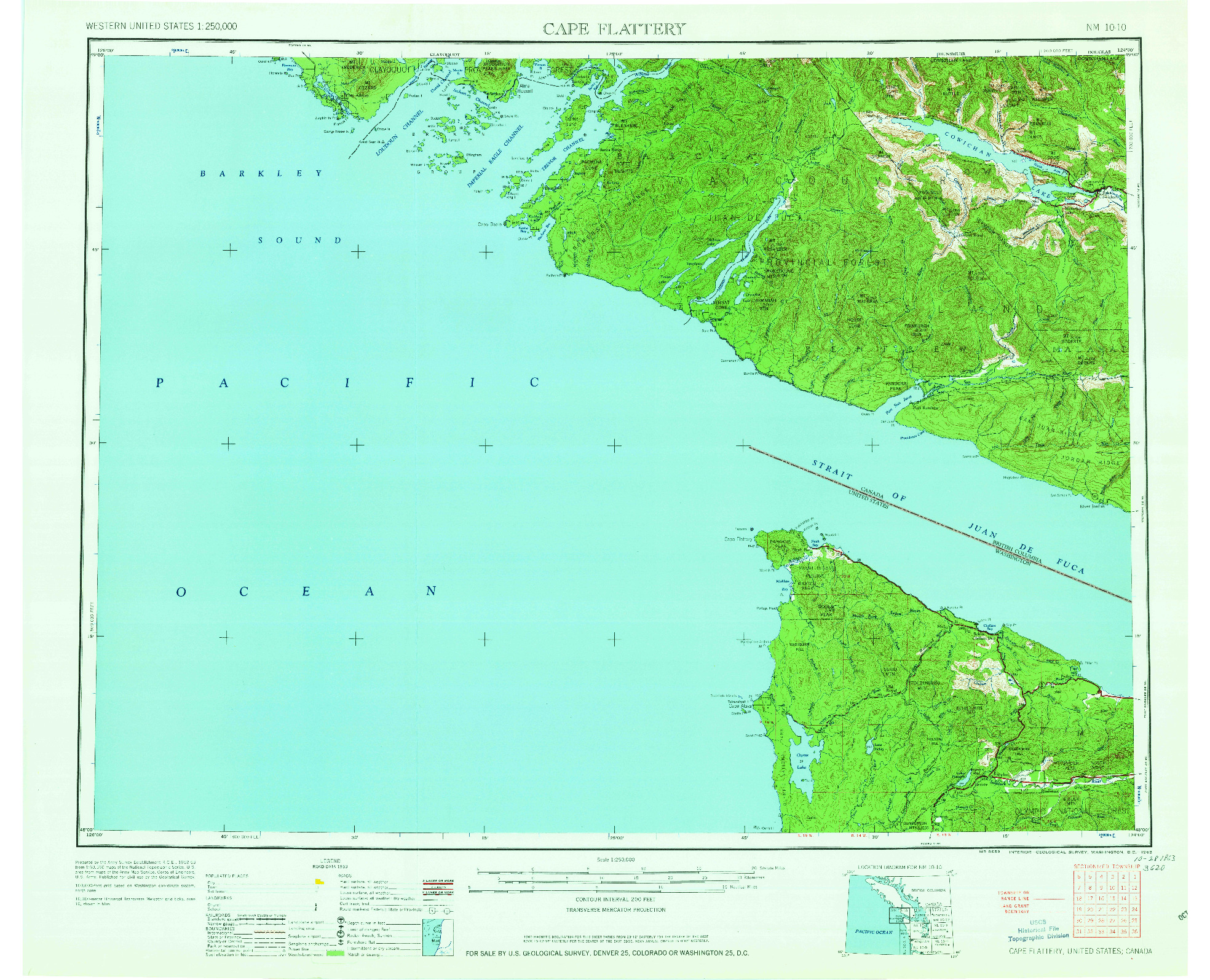 USGS 1:250000-SCALE QUADRANGLE FOR CAPE FLATTERY, WA 1963
