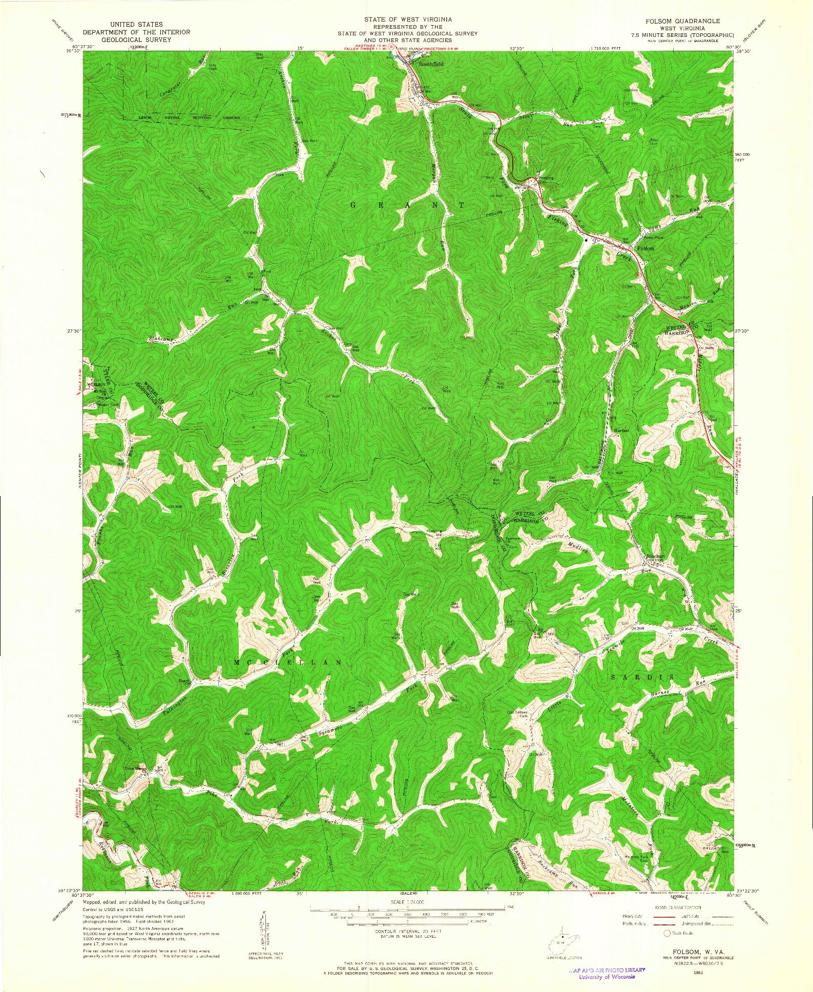 USGS 1:24000-SCALE QUADRANGLE FOR FOLSOM, WV 1961
