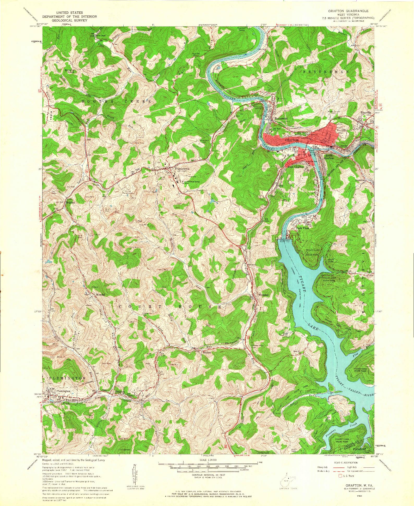 USGS 1:24000-SCALE QUADRANGLE FOR GRAFTON, WV 1960