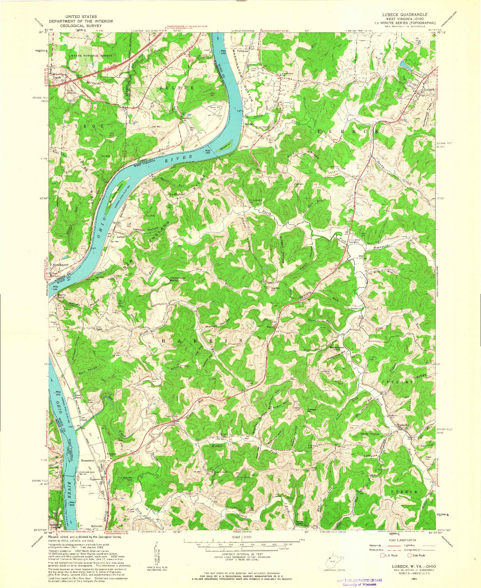 USGS 1:24000-SCALE QUADRANGLE FOR LUBECK, WV 1961