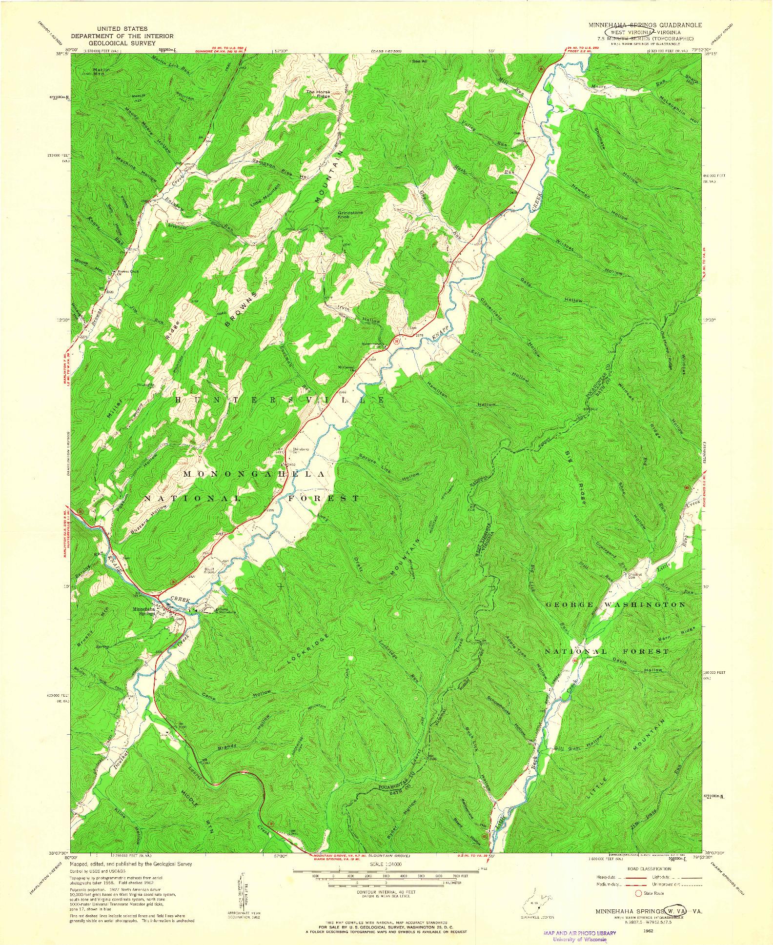 USGS 1:24000-SCALE QUADRANGLE FOR MINNEHAHA SPRINGS, WV 1962