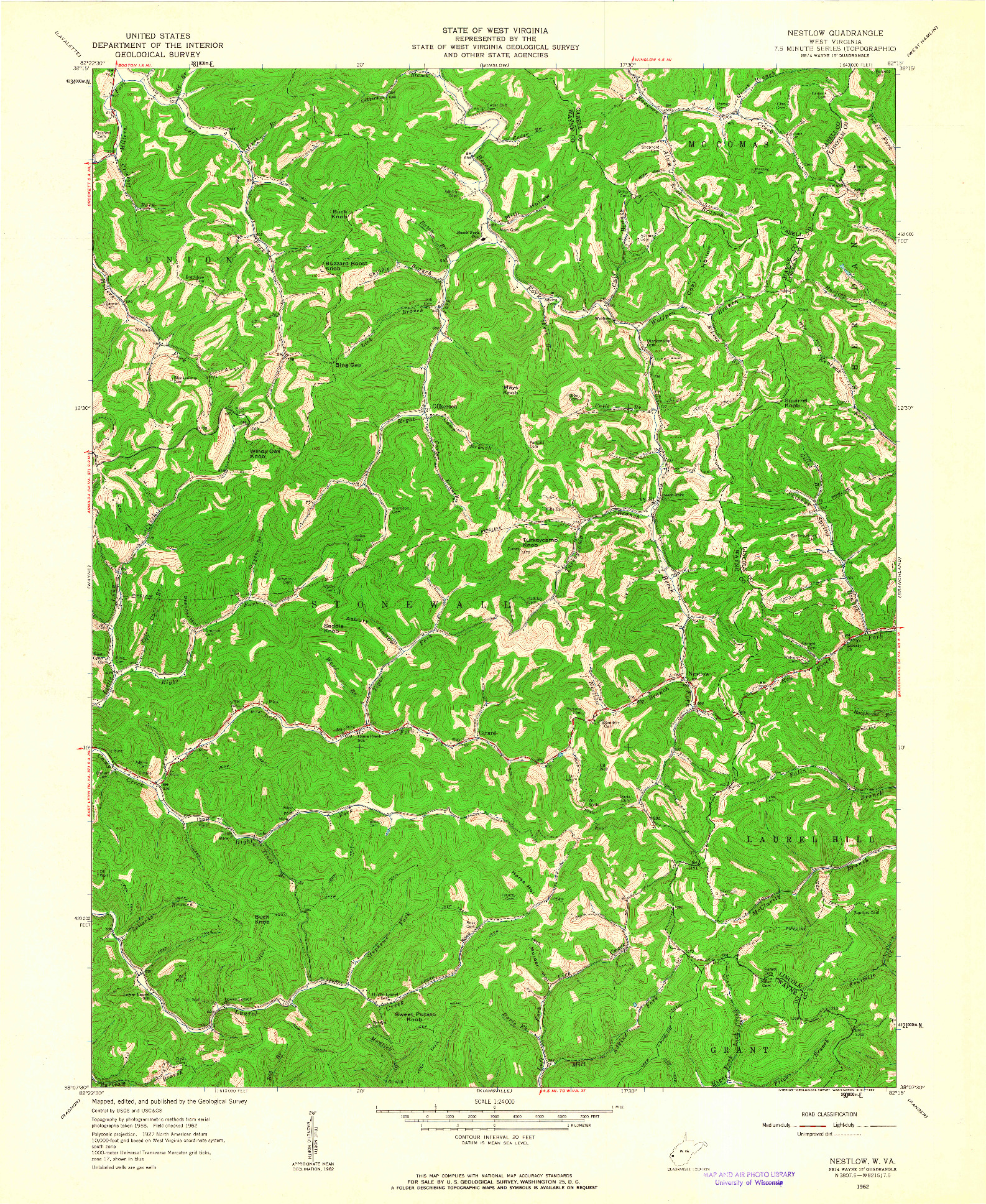 USGS 1:24000-SCALE QUADRANGLE FOR NESTLOW, WV 1962