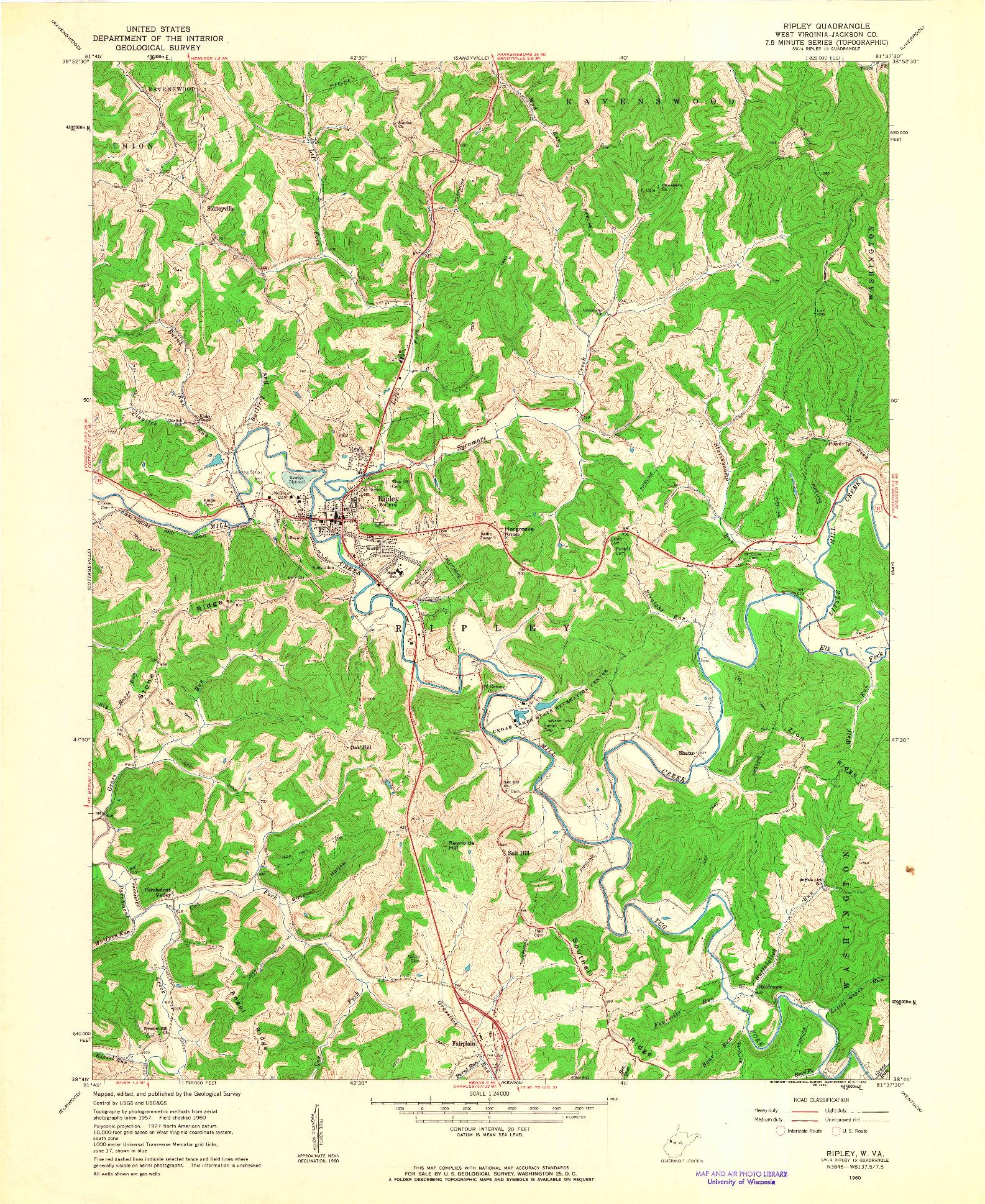 USGS 1:24000-SCALE QUADRANGLE FOR RIPLEY, WV 1960