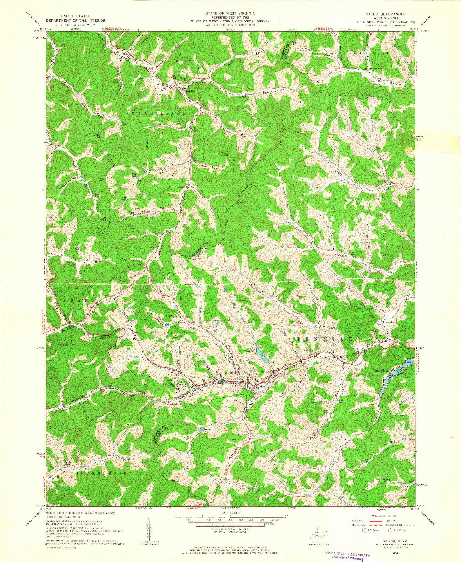 USGS 1:24000-SCALE QUADRANGLE FOR SALEM, WV 1961