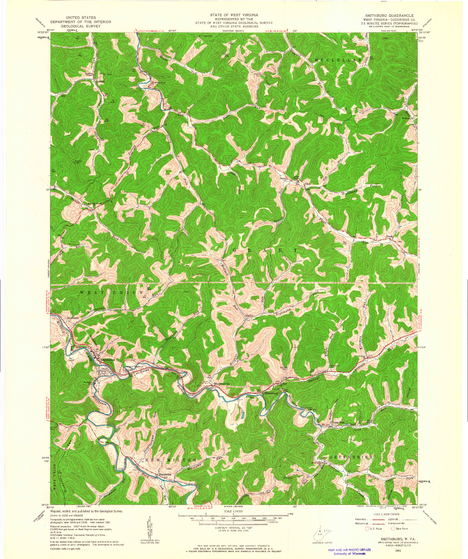 USGS 1:24000-SCALE QUADRANGLE FOR SMITHBURG, WV 1961