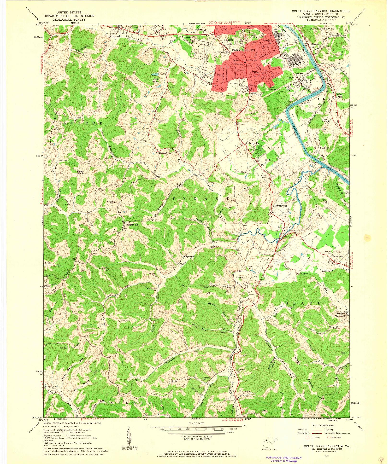 USGS 1:24000-SCALE QUADRANGLE FOR SOUTH PARKERSBURG, WV 1961