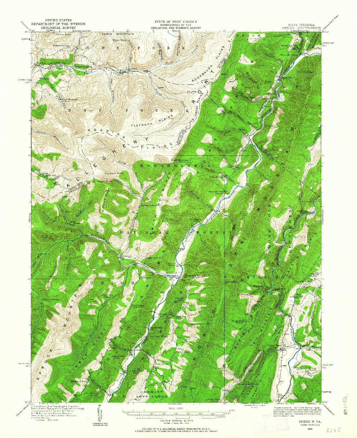 USGS 1:62500-SCALE QUADRANGLE FOR ONEGO, WV 1920