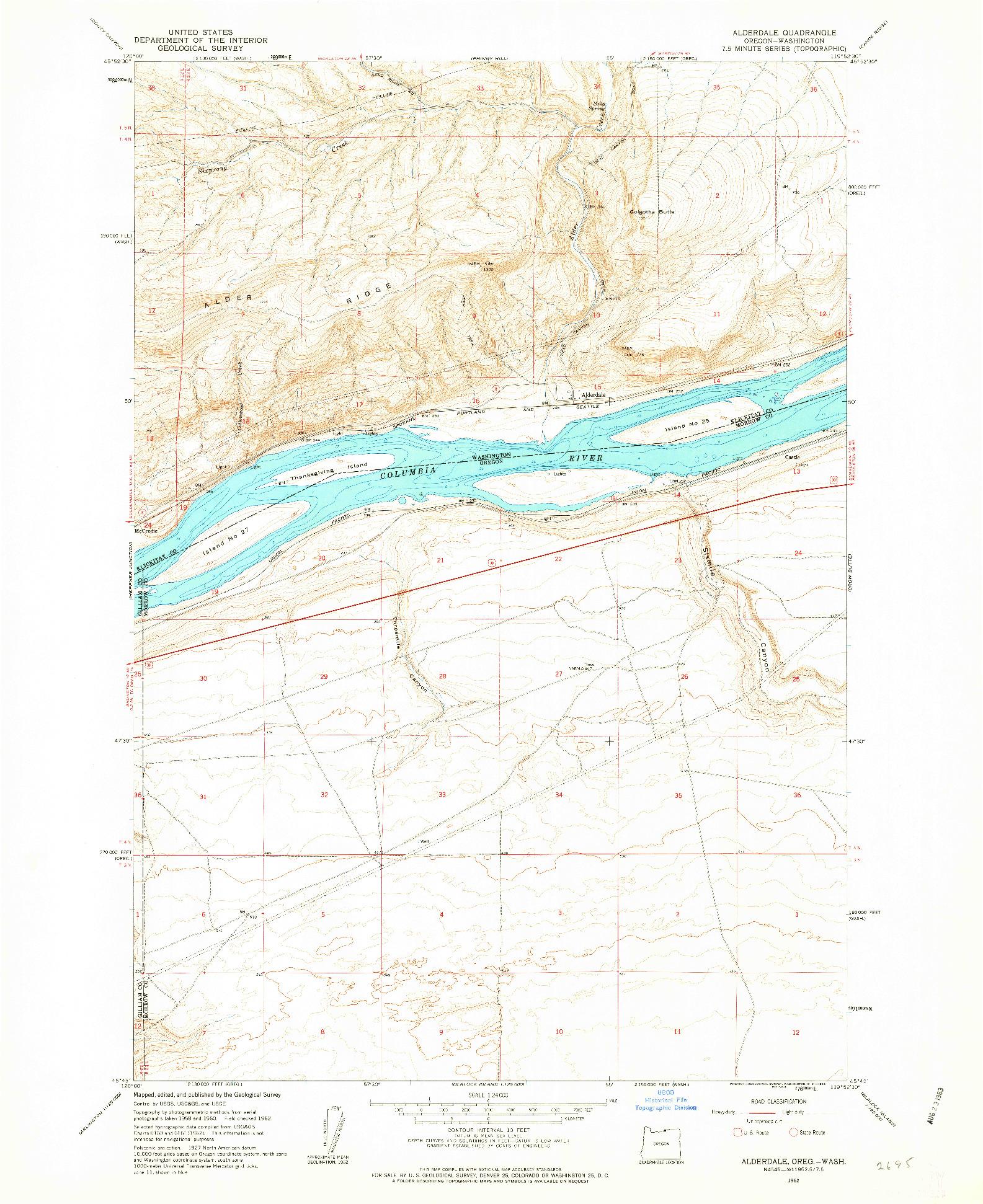 USGS 1:24000-SCALE QUADRANGLE FOR ALDERDALE, OR 1962