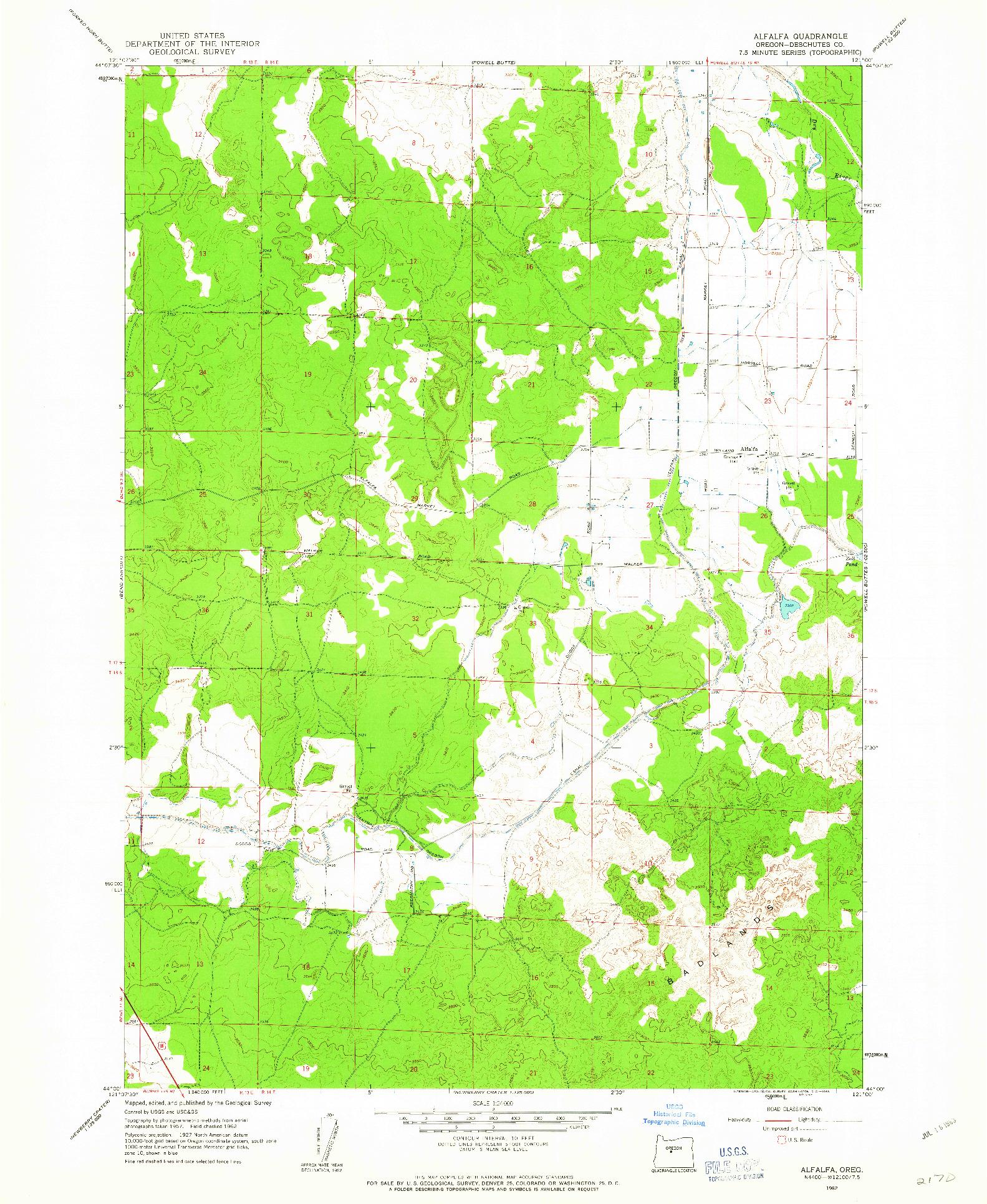 USGS 1:24000-SCALE QUADRANGLE FOR ALFALFA, OR 1962