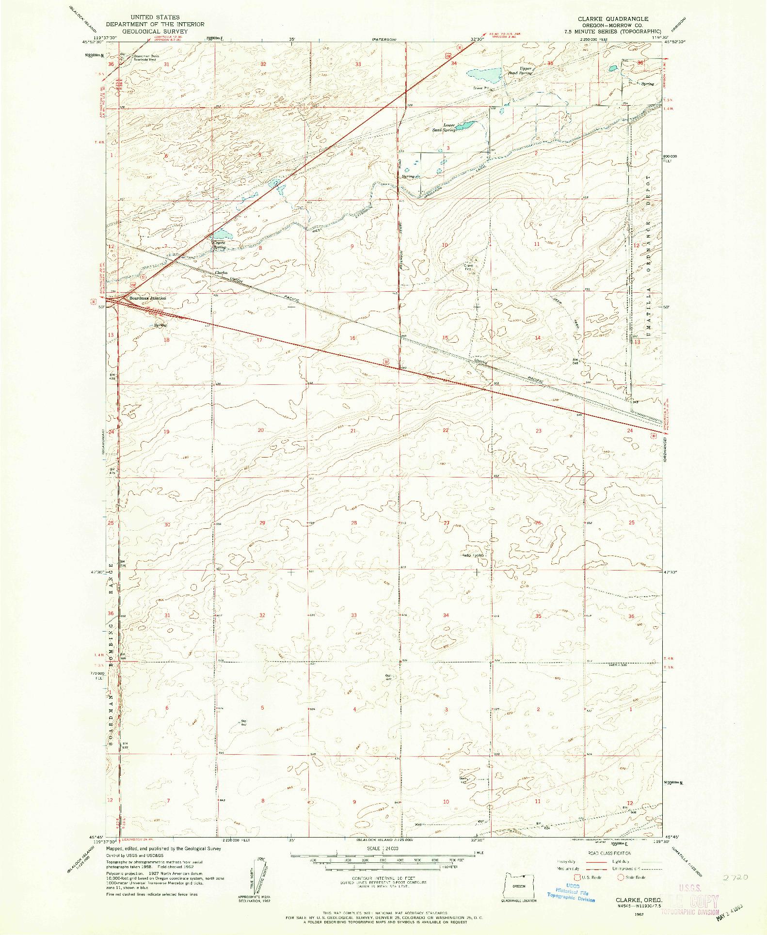 USGS 1:24000-SCALE QUADRANGLE FOR CLARKE, OR 1962