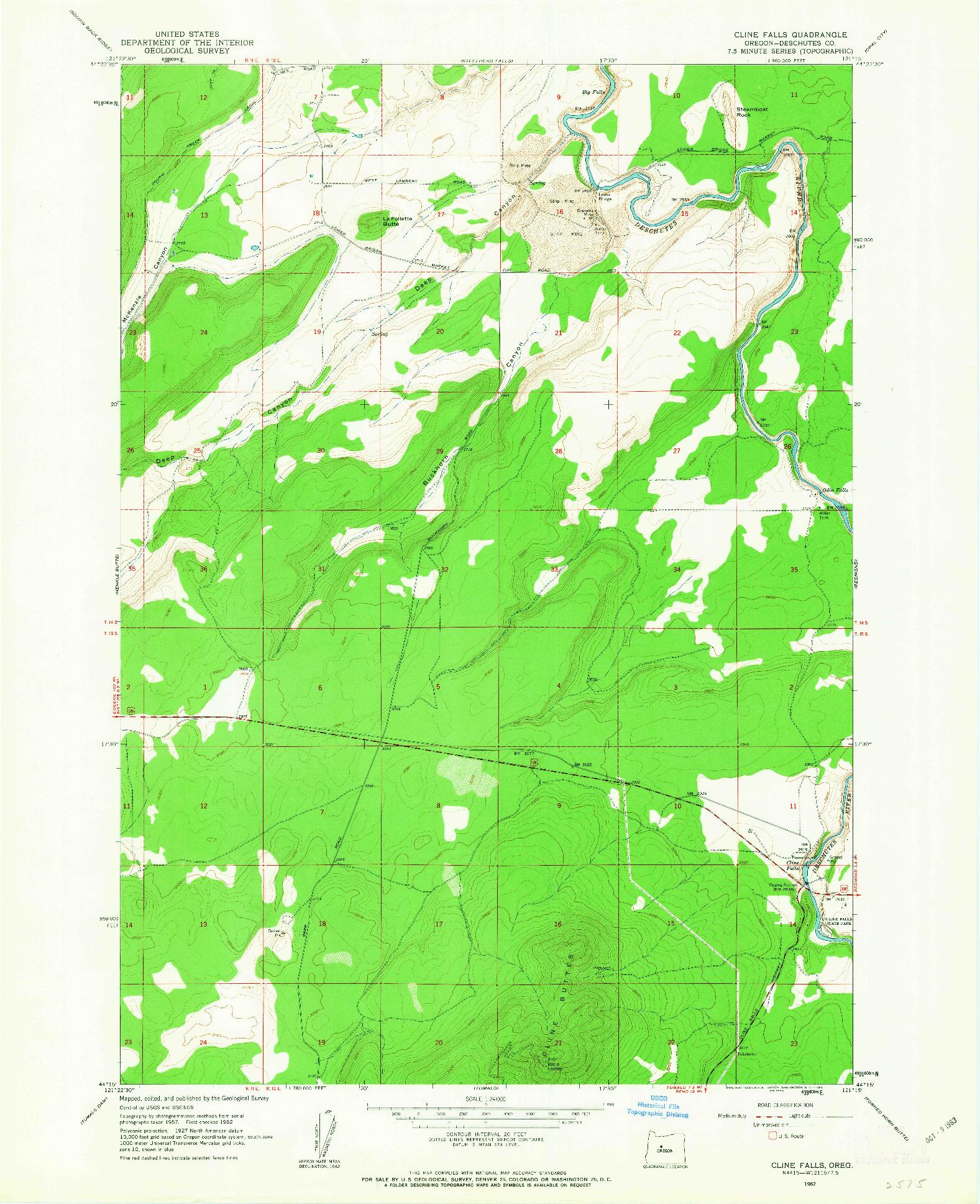 USGS 1:24000-SCALE QUADRANGLE FOR CLINE FALLS, OR 1962